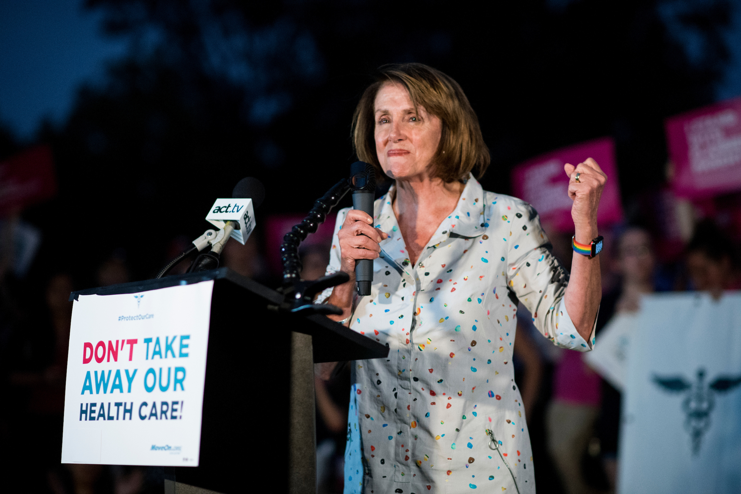 8:41 p.m. | House Minority Leader Nancy Pelosi, D-Calif.,speaks to health care protesters outside of the Capitol on Thursday. (Bill Clark/CQ Roll Call)