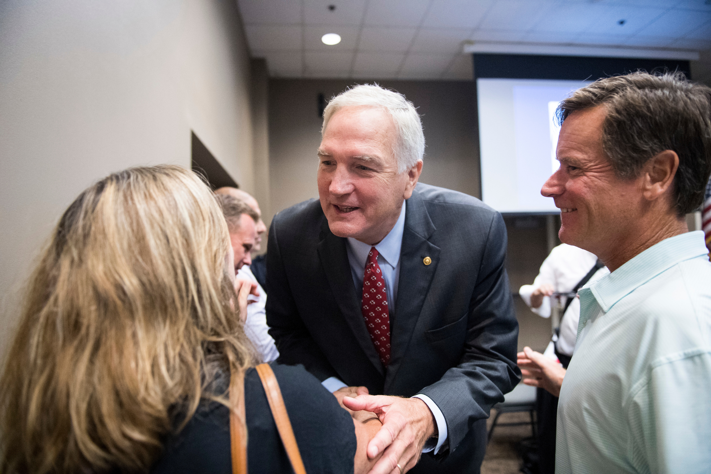 GOP candidate for U.S. Senate Sen. Luther Strange, R-Ala., speaks with attendees after the U.S. Senate candidate forum held by the Shelby County Republican Party in Pelham, Ala., on Friday, Aug. 4, 2017. Sen. Strange is running in the special election to fill the seat vacated by Attorney General Jeff Sessions. (Photo By Bill Clark/CQ Roll Call)