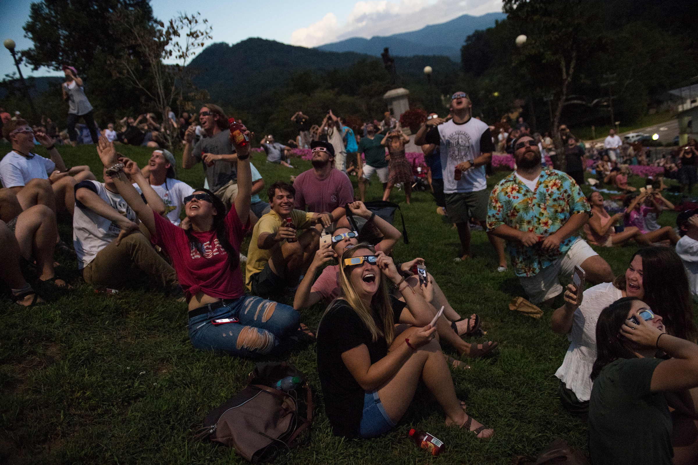 UNITED STATES - AUGUST 21: Spectators view the solar eclipse during the span of totality in Sylva, N.C., on August 21, 2017. The town lies in the path of totality. (Photo By Tom Williams/CQ Roll Call)
