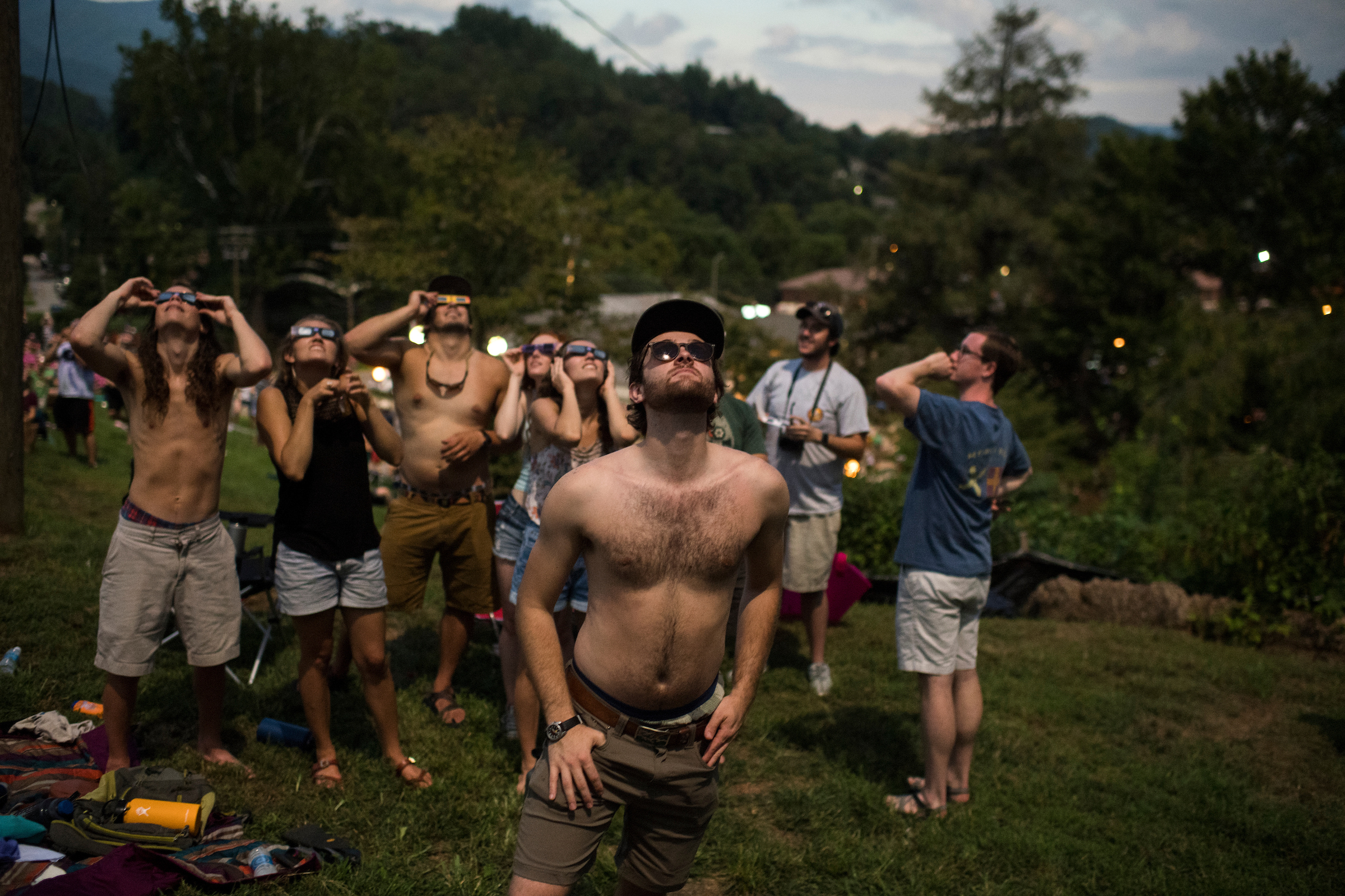 UNITED STATES - AUGUST 21: Spectators view the solar eclipse in Sylva, N.C. on August 21, 2017. The town lies in the path of totality.(Photo By Tom Williams/CQ Roll Call)