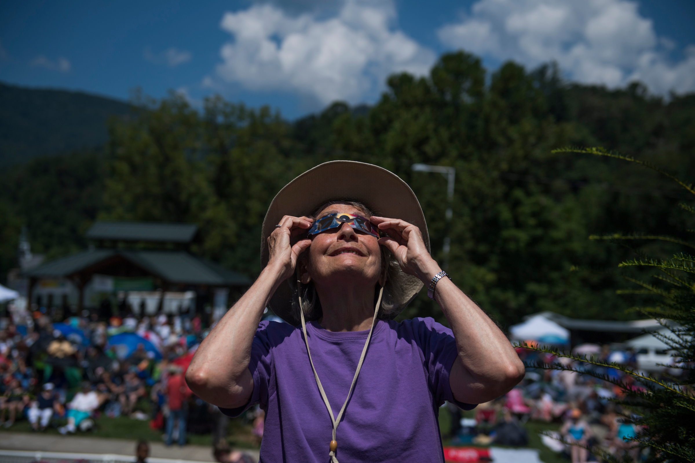 UNITED STATES - AUGUST 21: A spectator views the solar eclipse in Sylva, N.C. on August 21, 2017. The town lies in the path of totality.(Photo By Tom Williams/CQ Roll Call)