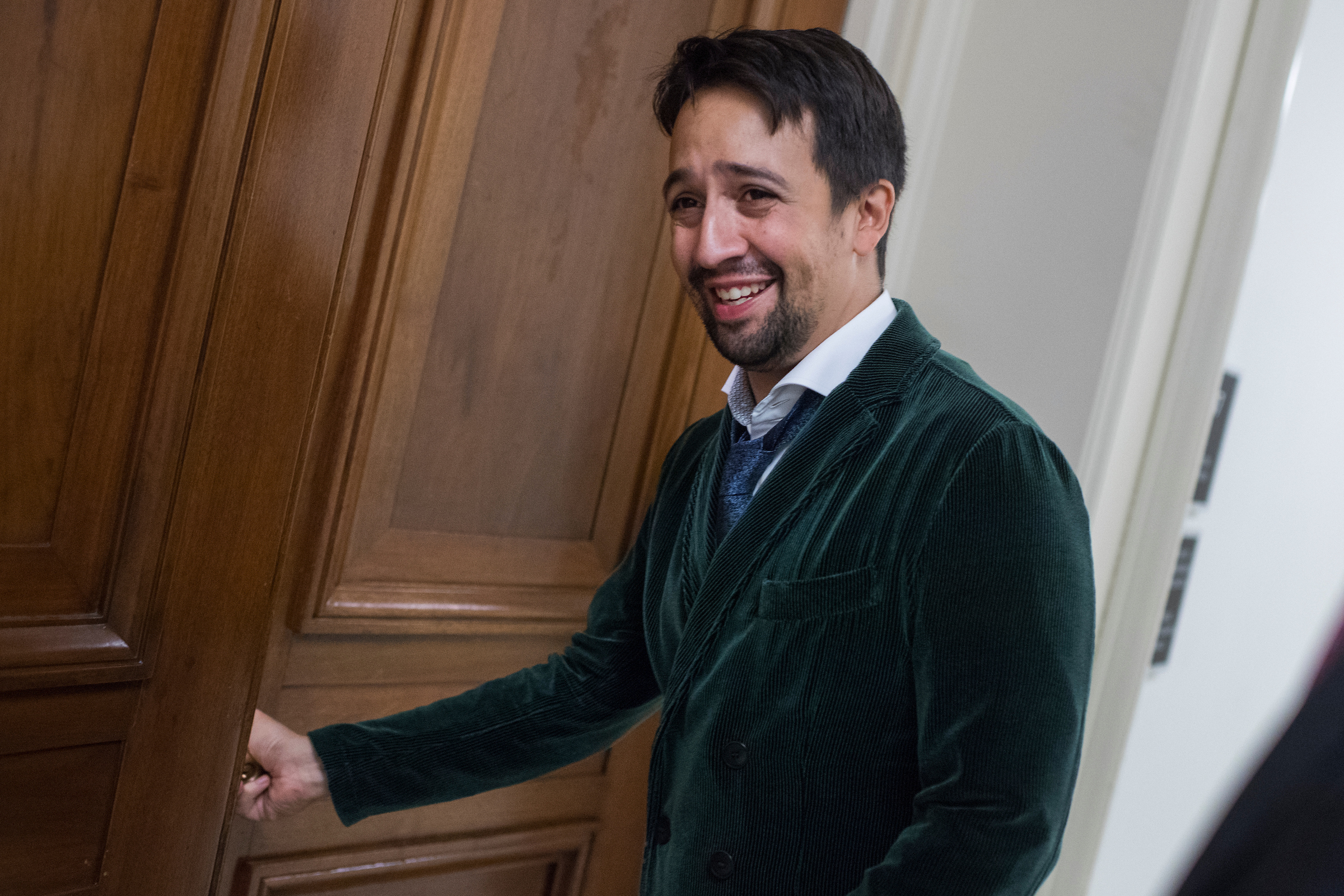 UNITED STATES - SEPTEMBER 13: Lin-Manuel Miranda, creator of the musical Hamilton, makes his way to a meeting at the House Appropriations Subcommittee on Interior, Environment and Related Agencies in Rayburn, during a round of meetings to urge federal funding for the national endowments for the arts and humanities on September 13, 2017. (Photo By Tom Williams/CQ Roll Call)