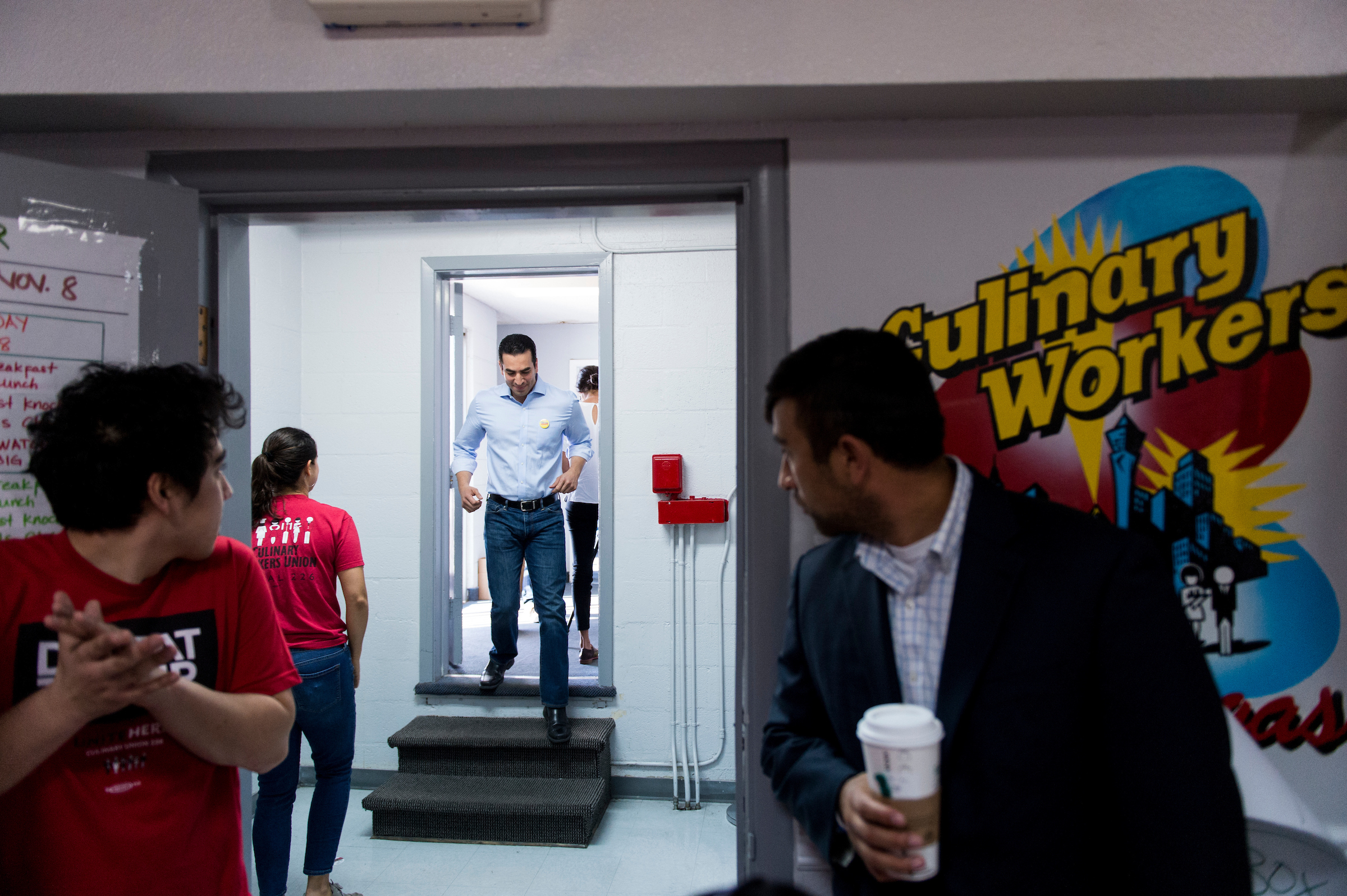 UNITED STATES - NOVEMBER 7: Ruben Kihuen, Democratic candidate for Nevada's 4th Congressional district, arrives to speak during a canvassing kickoff rally with Catherine Cortez Masto, Democratic candidate for U.S. Senate from Nevada, at the influential Culinary Workers Union Local 226 in Las Vegas on Monday, Nov. 7, 2016. The mostly hispanic labor union is a powerhouse in Democratic politics in the Nevada. (Photo By Bill Clark/CQ Roll Call)