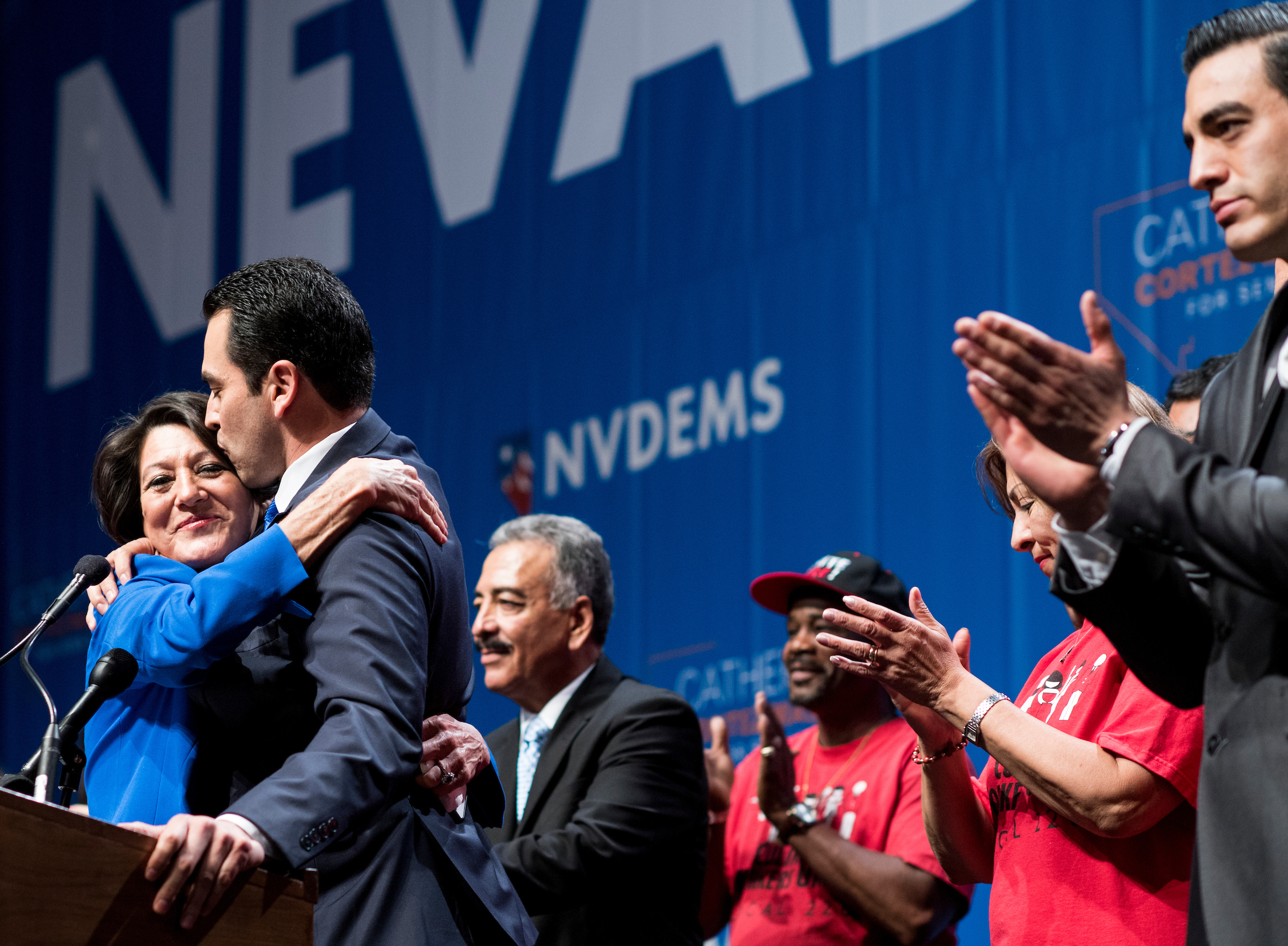 UNITED STATES - NOVEMBER 8: Rep.-elect Ruben Kihuen, D-Nev., kisses his mother as he delivers his victory speech flanked by his family and supporters at the Nevada Democrats' election night watch party at the Aria Hotel & Resort in Las Vegas on Election Day, Nov. 8, 2016. (Photo By Bill Clark/CQ Roll Call)