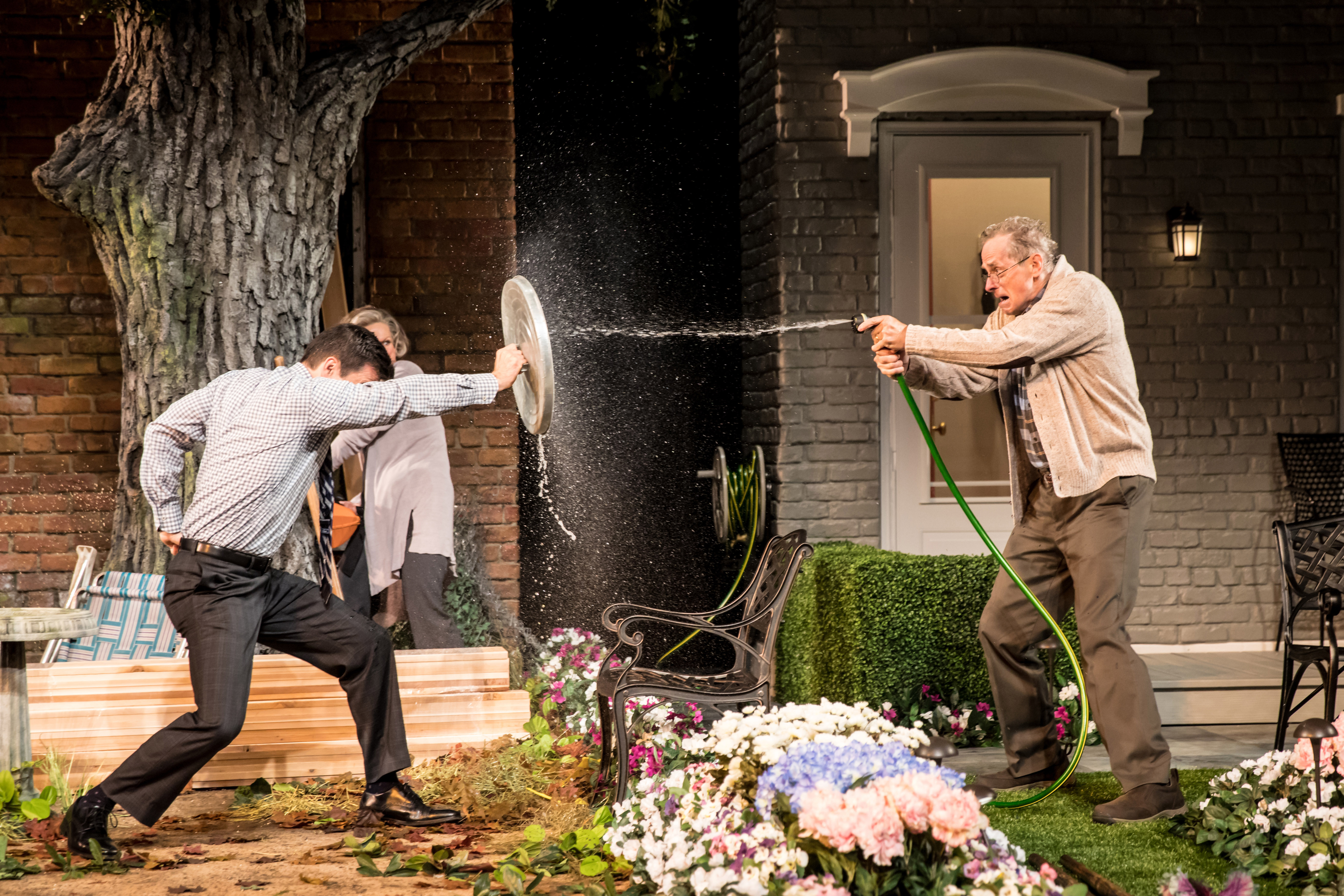 Dan Domingues as Pablo Del Valle, Steve Hendrickson as Frank Butley and Sally Wingert as Virginia Butley in Native Gardens, running September 15-October 22, 2017 at Arena Stage at the Mead Center for American Theater. Photo by Dan Norman for Guthrie Theater.