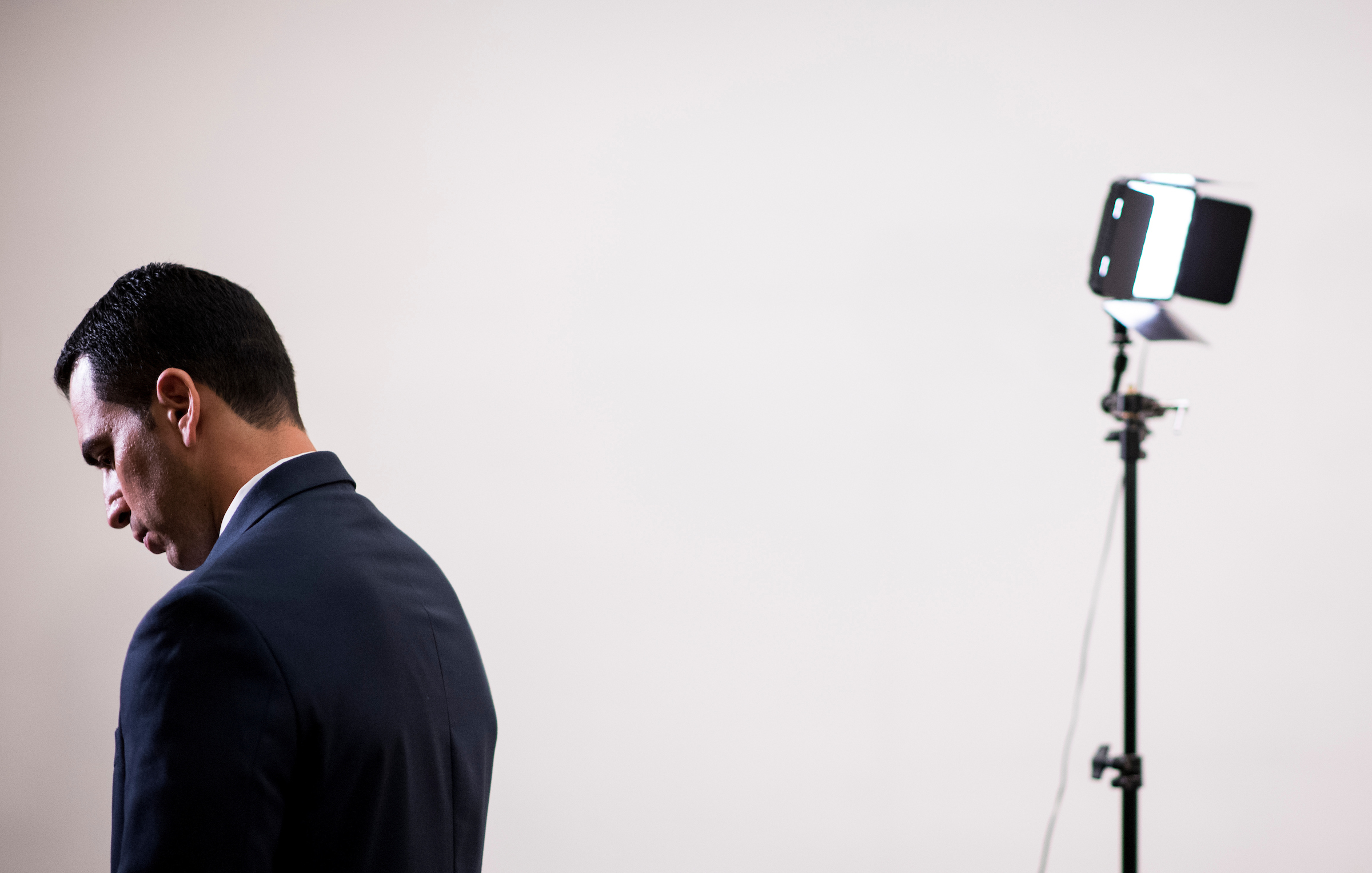 UNITED STATES - SEPTEMBER 5: Rep. Ruben Kihuen, D-Nev., prepares to do a live television interview with Univision after gathering in the Capitol with other House Democrats in solidarity with DREAMers and to speak out against President Trump's decision to end DACA on Tuesday, Sept. 5, 2017. (Photo By Bill Clark/CQ Roll Call)