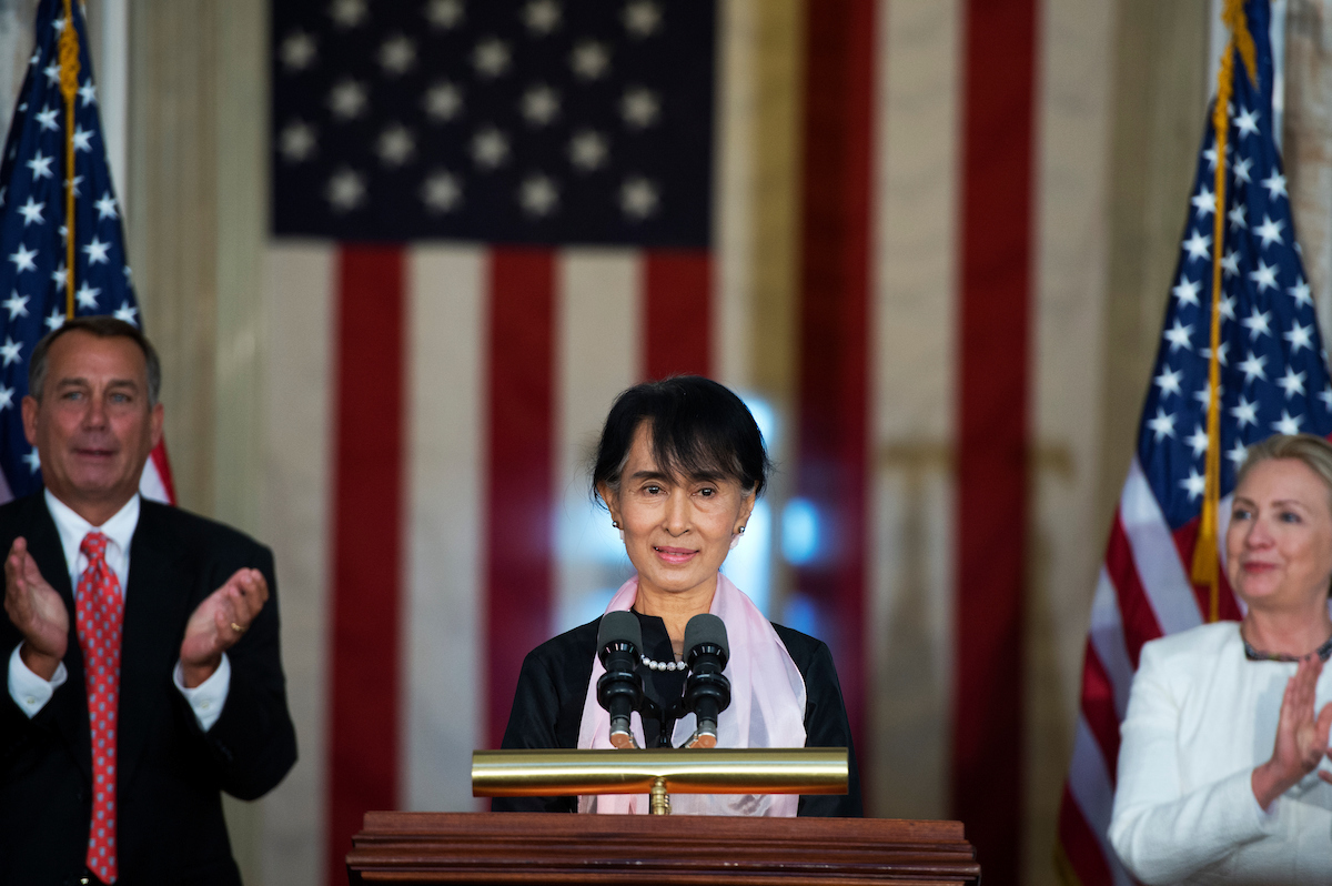 "ung San Suu Kyi, speaks during a Congressional Gold Medal ceremony in the Capitol rotunda honoring her for ""leadership and commitment to human rights and for promoting freedom, peace and democracy in Myanmar,"""