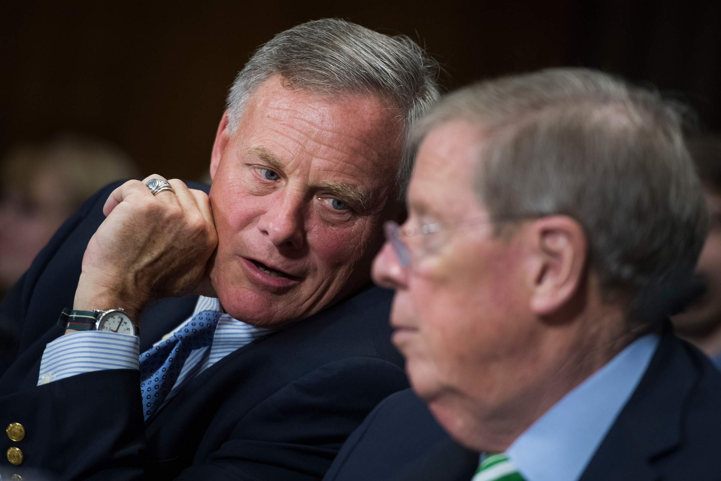 UNITED STATES - SEPTEMBER 20: Sens. Richard Burr, R-N.C., left, and Johnny Isakson, R-Ga., prepare to introduce judicial nominees during a Senate Judiciary Committee hearing in Dirksen on September 20, 2017. (Photo By Tom Williams/CQ Roll Call)