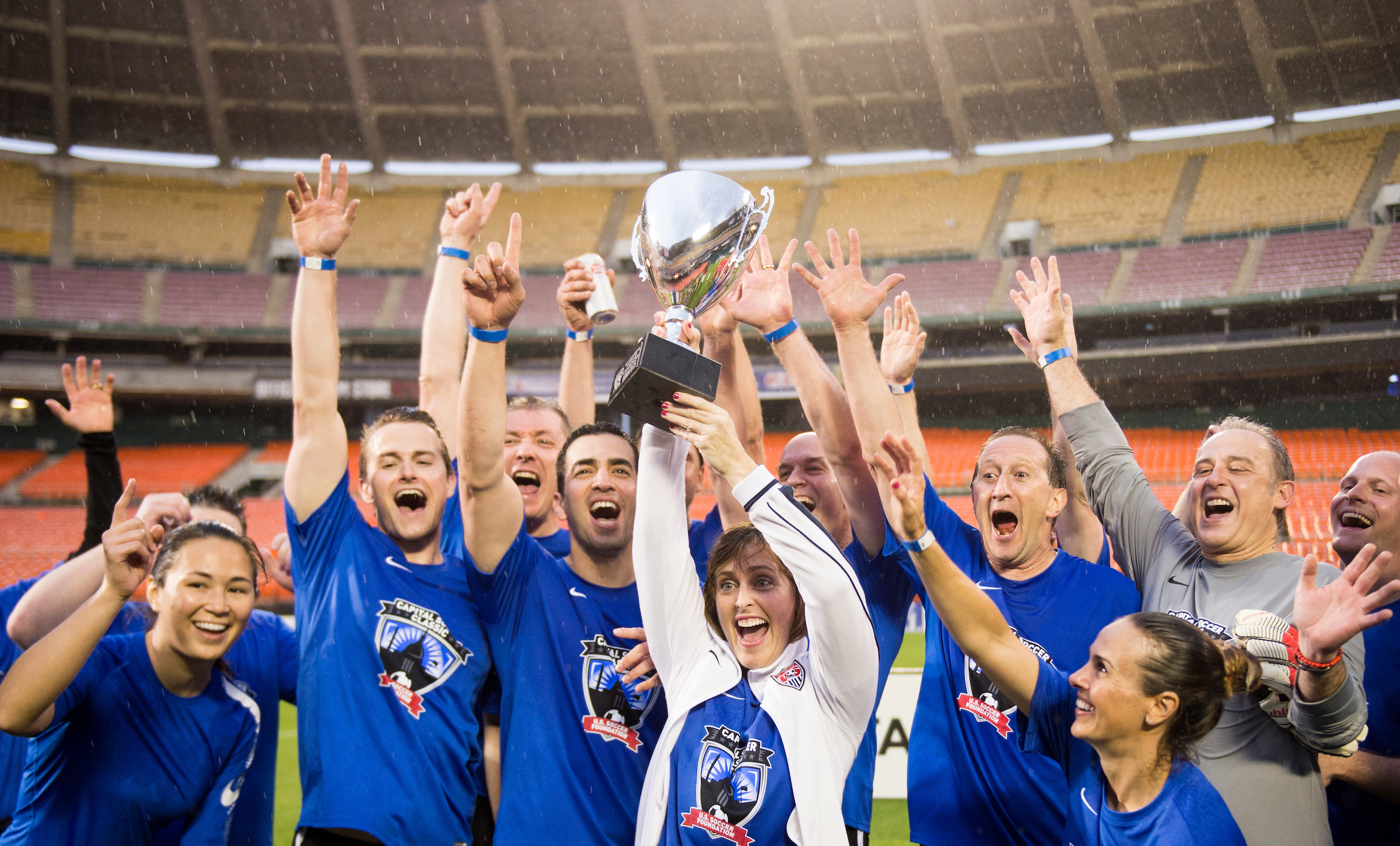MAY 23: Democrats hoist their trophy after defeating the Republicans 5-3 at RFK Stadium in the fifth annual Capitol Soccer Classic's congressional game on Tuesday, May 23, 2017. (Photo By Bill Clark/CQ Roll Call)