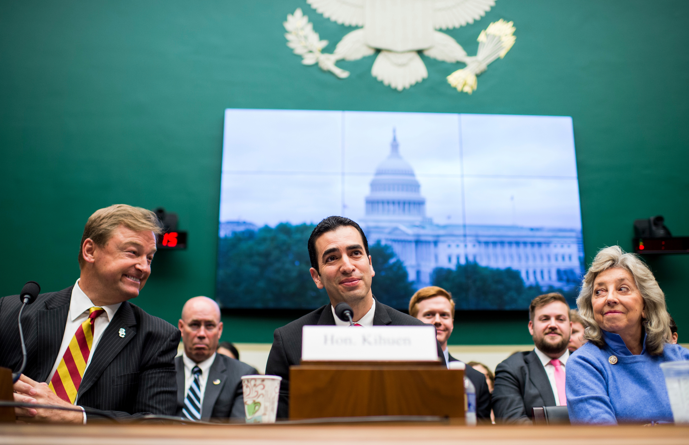 "UNITED STATES - APRIL 26: From left, Sen. Dean Heller, R-Nev., Rep. Ruben Kihuen, D-Nev., and Rep. Dina Titus, D-Nev., make statements in opposition to using Yucca Mountain as a nuclear waste disposal site during the House Committee on Energy and Commerce Subcommittee on Environment hearing on the ""Nuclear Waste Policy Amendments Act Of 2017"" on Wednesday, April 26, 2017. (Photo By Bill Clark/CQ Roll Call)"