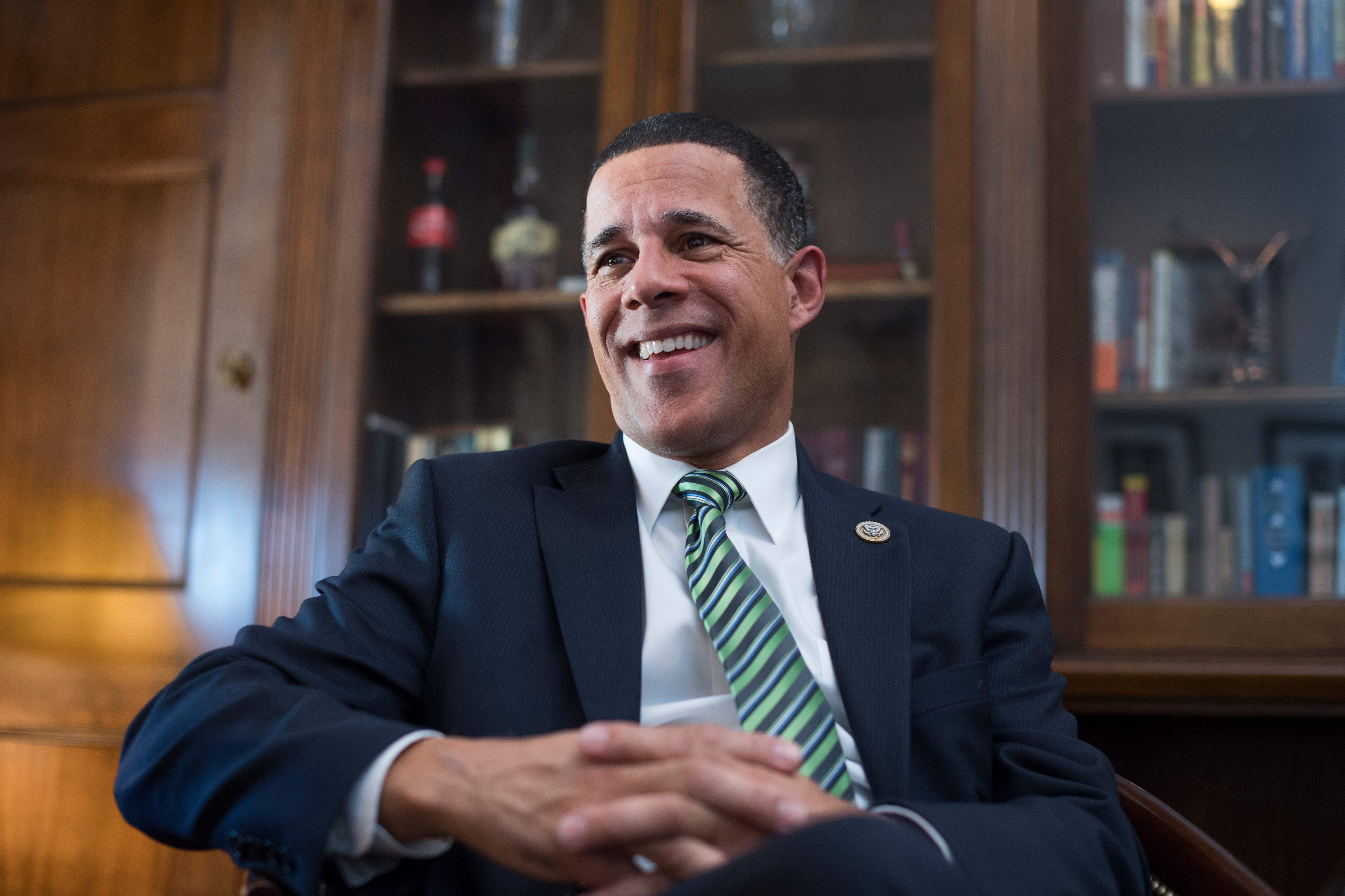 UNITED STATES - OCTOBER 03: Rep. Anthony Brown, D-Md., is interviewed in his Longworth Building office on October 3, 2017. (Photo By Tom Williams/CQ Roll Call)