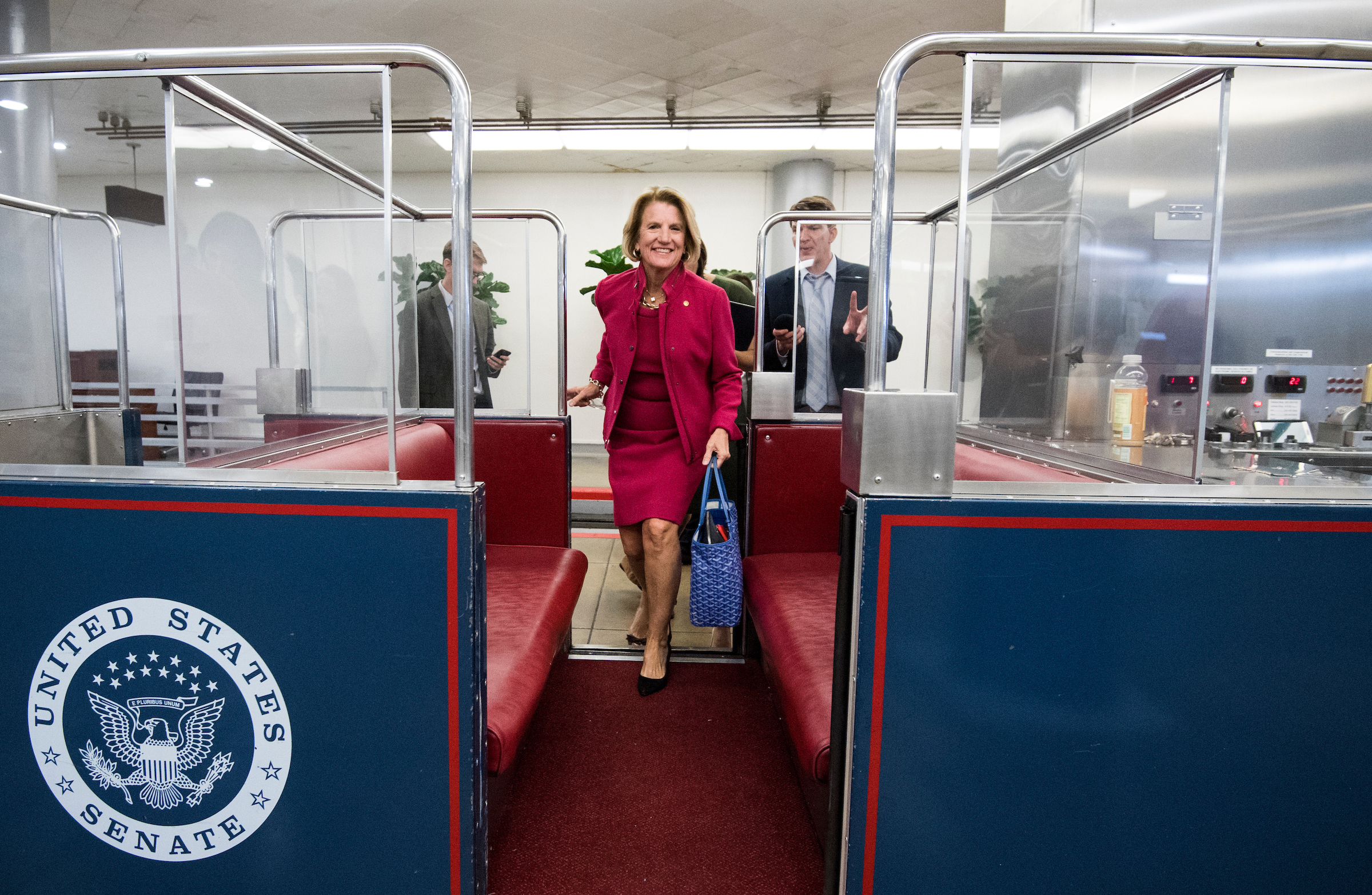 UNITED STATES - OCTOBER 18: Sen. Shelley Moore Capito, R-W.Va., boards the Senate subway in the Capitol on Wednesday, Oct. 18, 2017. (Photo By Bill Clark/CQ Roll Call)