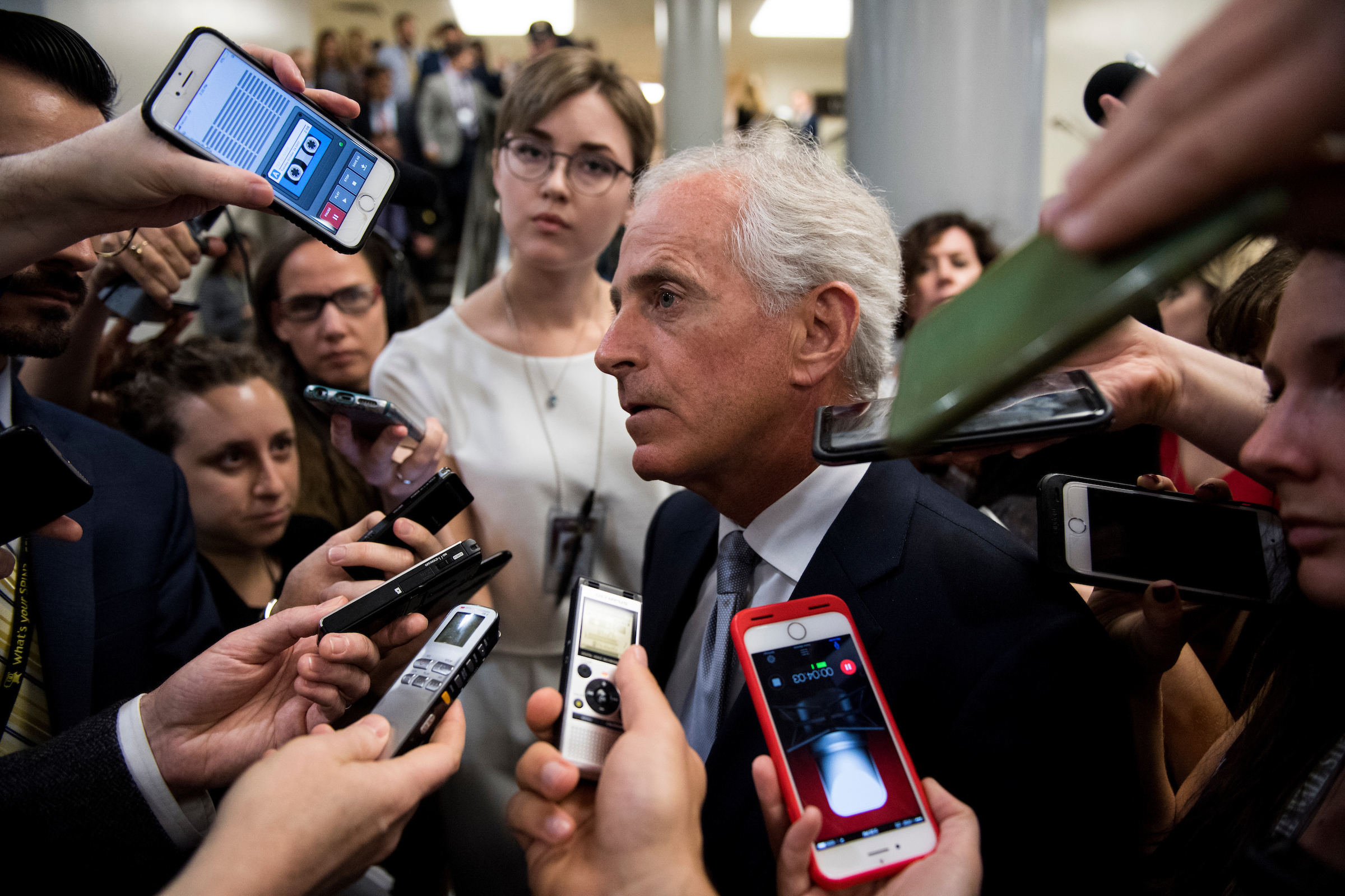 UNITED STATES - OCTOBER 24: Sen. Bob Corker, R-Tenn., speaks to reporters as he leaves the Senate Republicans' policy lunch with President Donald Trump in the Capitol on Tuesday, Oct. 24, 2017. (Photo By Bill Clark/CQ Roll Call)