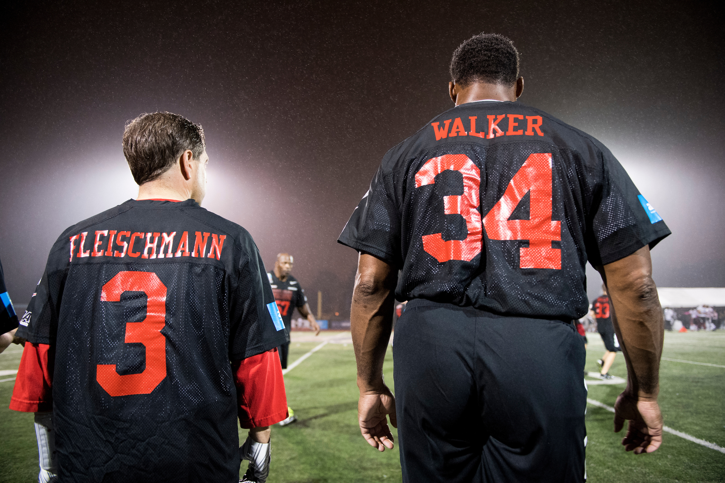Rep. Chuck Fleischmann, R-Tenn., and NFL star Herschel Walker watch amor the sidelines during the Congressional Football Game at Gallaudet University in Washington on Wednesday, Oct. 11, 2017. The game featured the Capitol Police team The Guards vs the Congressional team The Mean Machine. (Photo By Bill Clark/Roll Call)