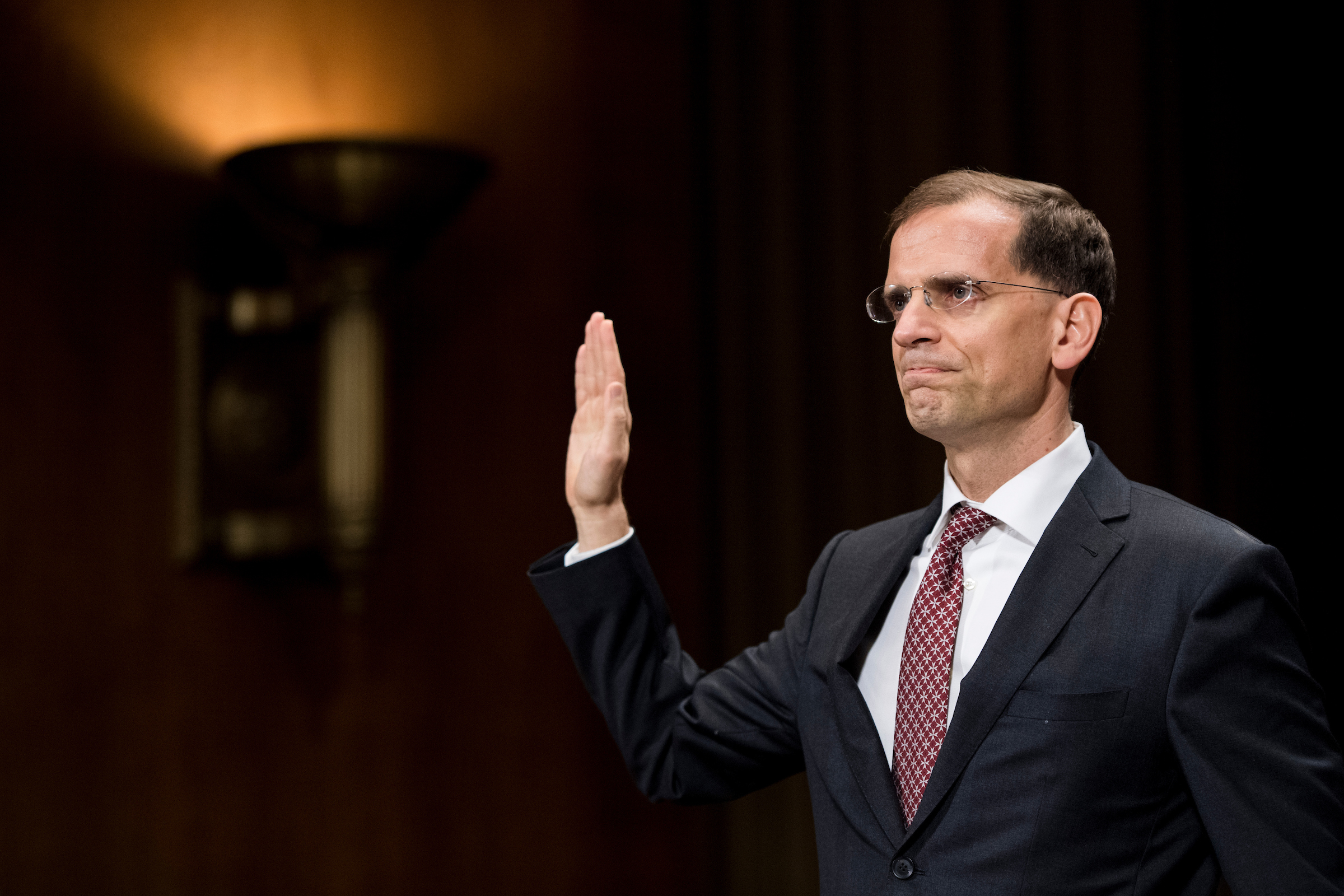 Gregory Katsas, nominee to be United States Circuit Judge for the District of Columbia Circuit, is sworn in during his confirmation hearing in the Senate Judiciary Committee on Tuesday, Oct. 17, 2017. (Bill Clark/CQ Roll Call)