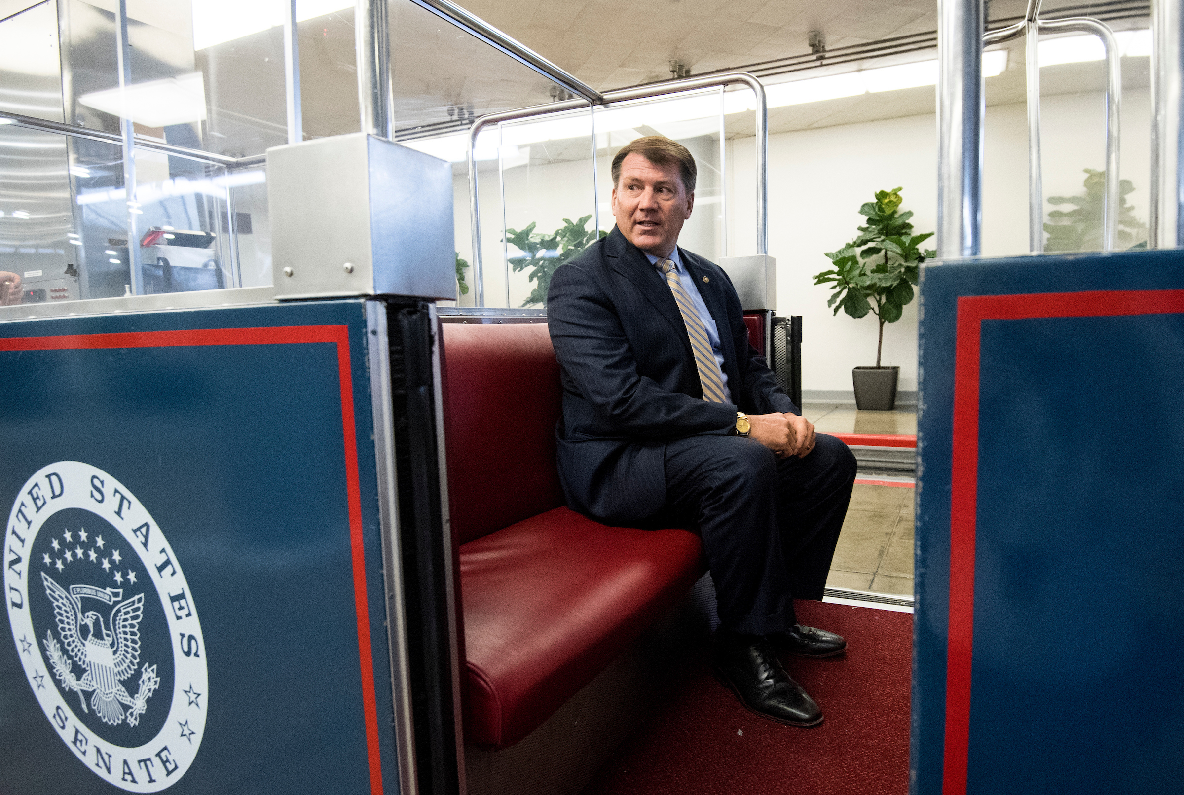 UNITED STATES - OCTOBER 19: Sen. Mike Rounds, R-S. Dak., boards the Senate subway in the Capitol for a vote on Thursday, Oct. 19, 2017. (Photo By Bill Clark/CQ Roll Call)