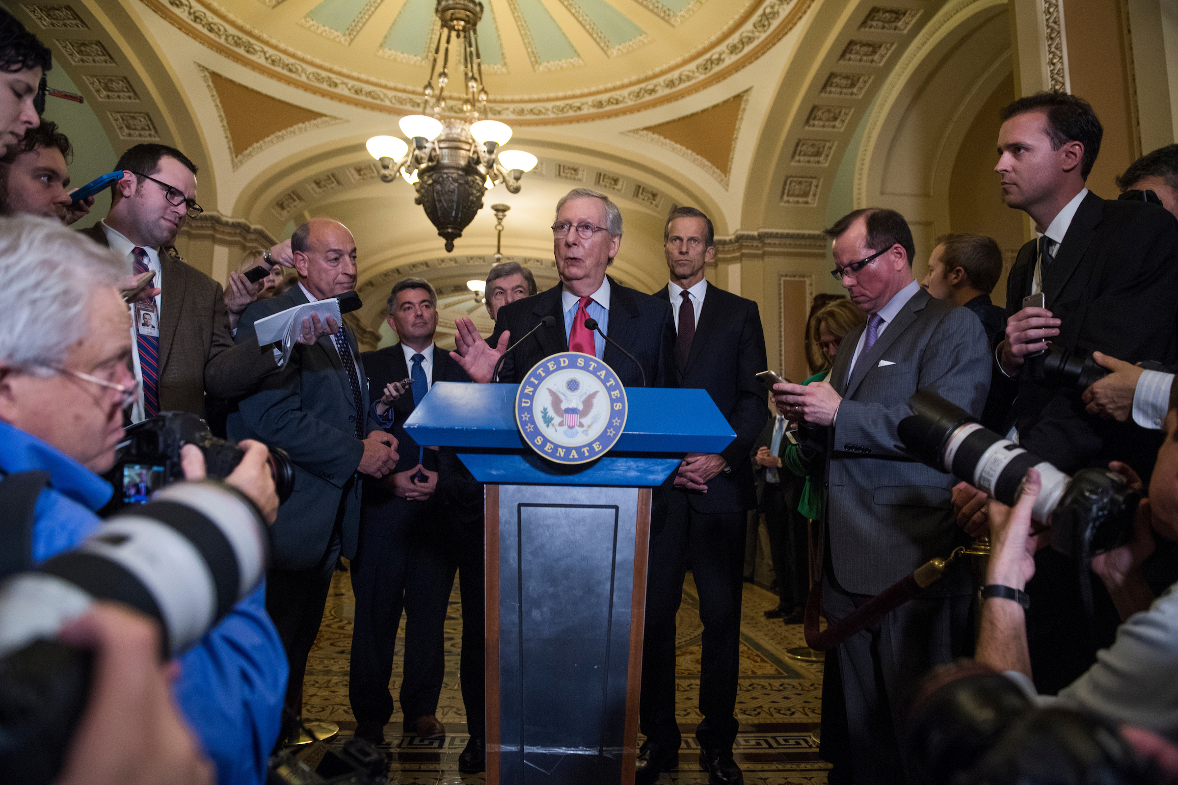 UNITED STATES - OCTOBER 24: Senate Majority Leader Mitch McConnell, R-Ky., conducts news conference in the Capitol after President Donald Trump visited the Republican Senate Policy luncheon on October 24, 2017. From left, Sens. Cory Gardner, R-Colo., Roy Blunt, R-Mo., and John Thune, R-S.D., also appear. (Photo By Tom Williams/CQ Roll Call)