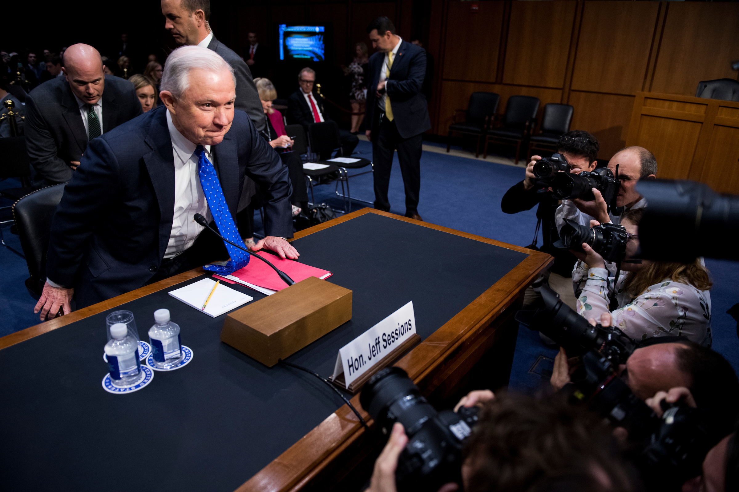 "UNITED STATES - OCTOBER 18: Attorney General Jeff Sessions arrives to testify during the Senate Judiciary Committee hearing on Full committee hearing on ""Oversight of the U.S. Department of Justice"" on Wednesday, Oct. 18, 2017. (Photo By Bill Clark/CQ Roll Call)"
