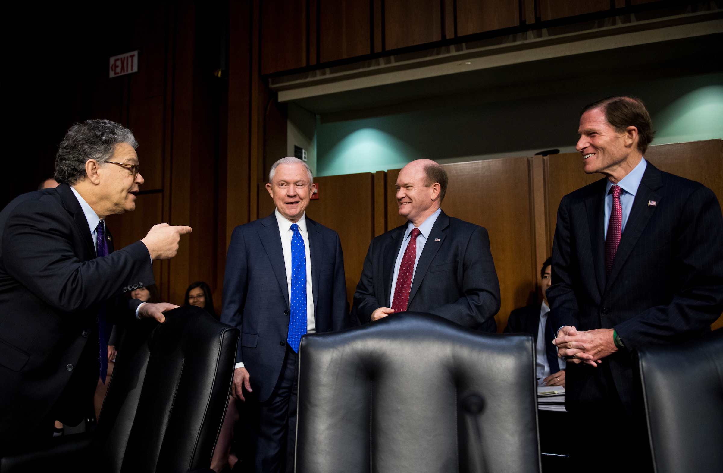 "Sen. Al Franken, D-Minn., Attorney General Jeff Sessions Sen. Chris Coons, D-Del., and Sen. Richard Blumenthal, D-Conn., talk as Sessions arrives for the Senate Judiciary Committee hearing on Full committee hearing on ""Oversight of the U.S. Department of Justice"" on Wednesday, Oct. 18, 2017. (Bill Clark/CQ Roll Call)"