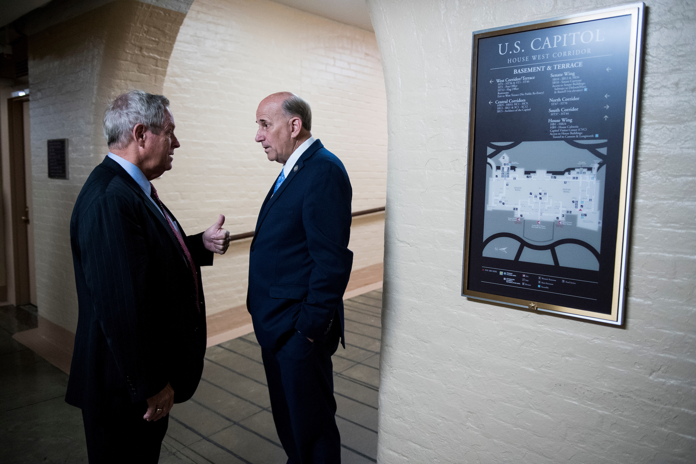 UNITED STATES - OCTOBER 24: Rep. Joe Wilson, R-S.C., left, and Rep. Louie Gohmert, R-Texas, talk as they leave the House Republican Conference meeting in the basement of the Capitol on Tuesday, oct. 24, 2017. (Photo By Bill Clark/CQ Roll Call)