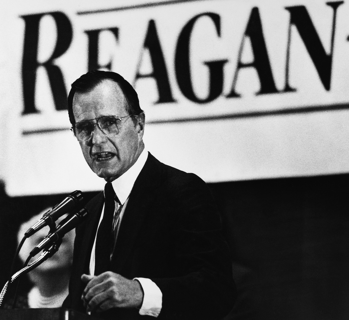 Vice President George H.W. Bush gets worked up about what he called gloom and doom speeches by the Democrats. Bush made a campaign stop at a Colorado GOP party on July 12, 1984. (CQ Roll Call Archive)