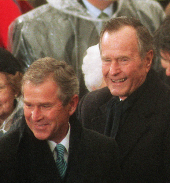 President George W. Bush and his father, former President George Bush at the inauguration of the 43rd president of the United States. (Photo by Scott J. Ferrell)
