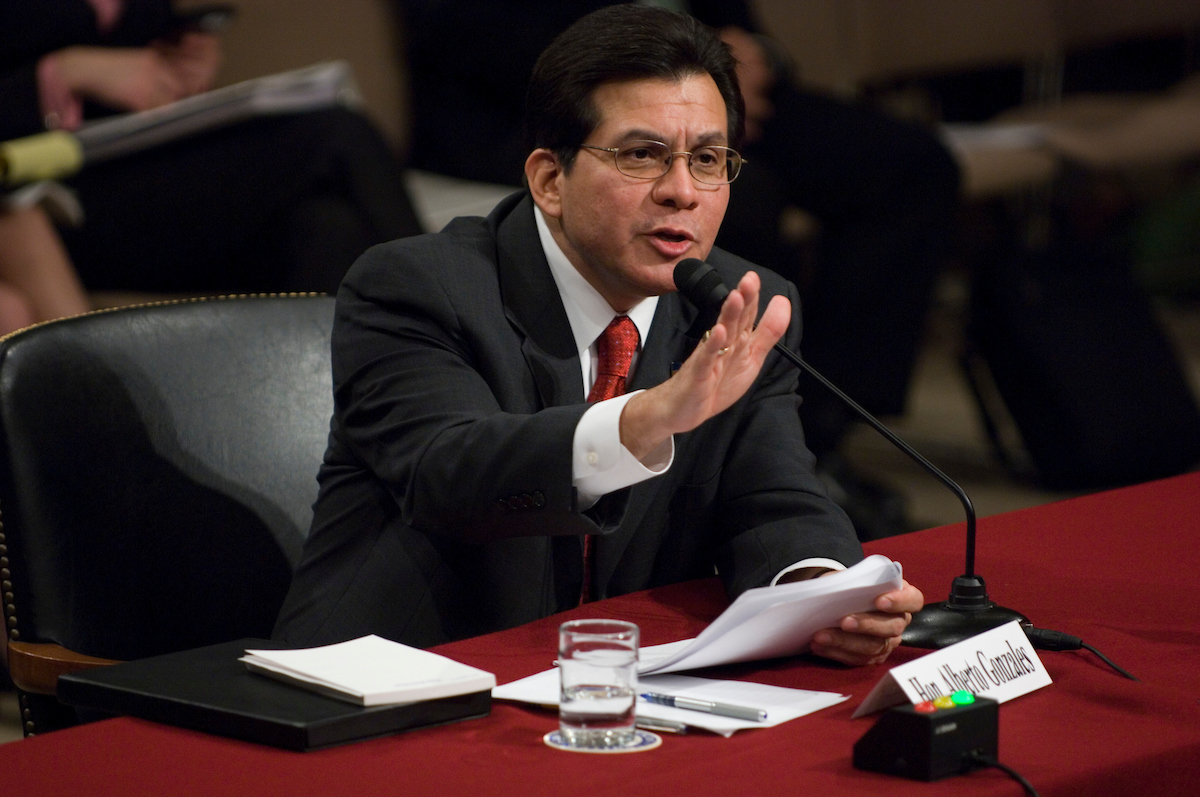 Attorney General Alberto Gonzales testifies during the Senate Judiciary Committee hearing investigating the firing of several U.S. Attorneys on Thursday, April 19, 2007.