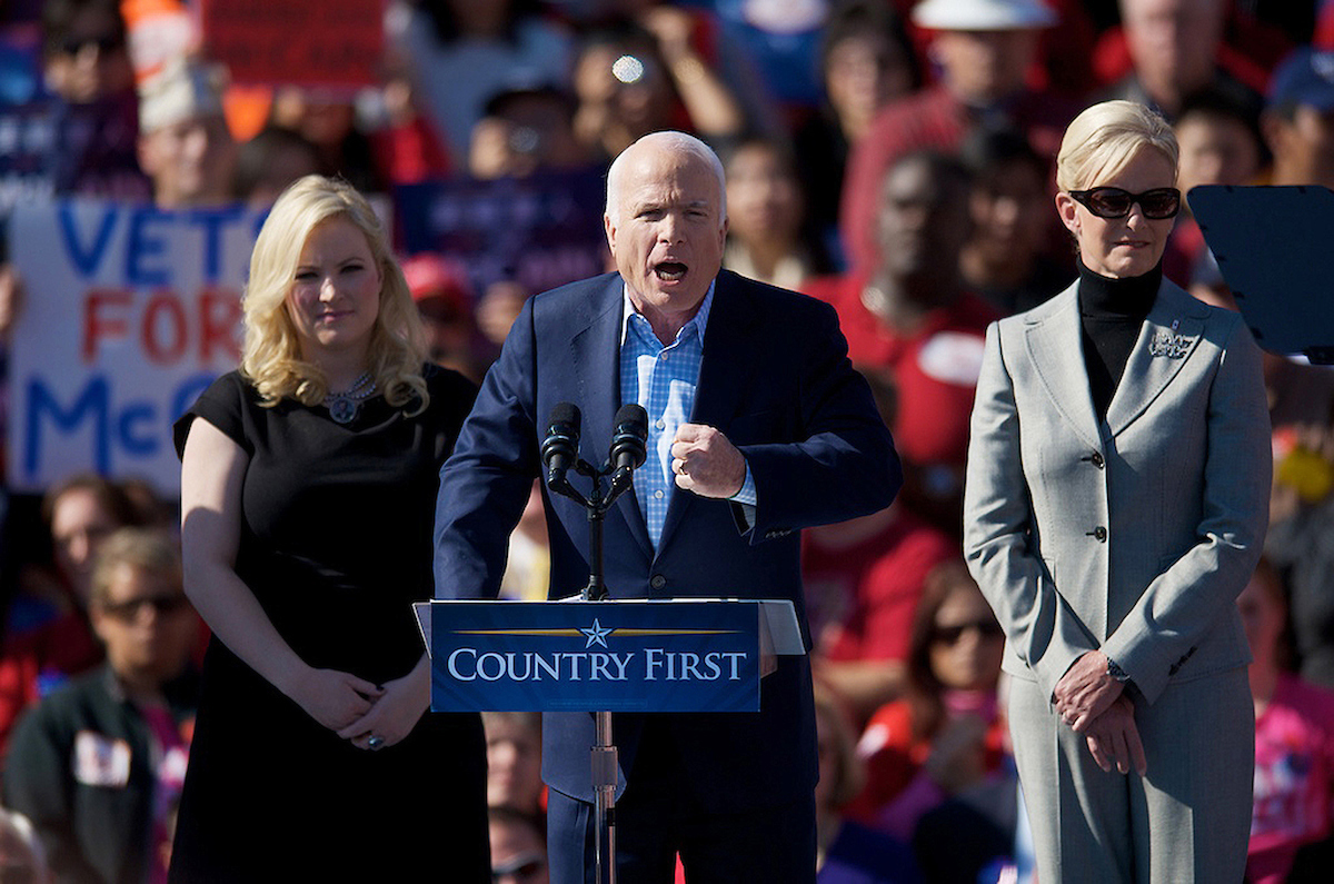Republican presidential candidate John McCain (C) speaks during a rally on November 1, 2008 in Springfield, Virginia, with his wife Cindy (R) and daughter Meghan (L) just outside of Washington DC in Springfield Virginia for his last appearence in Northern Virginia before Tuesdays election.