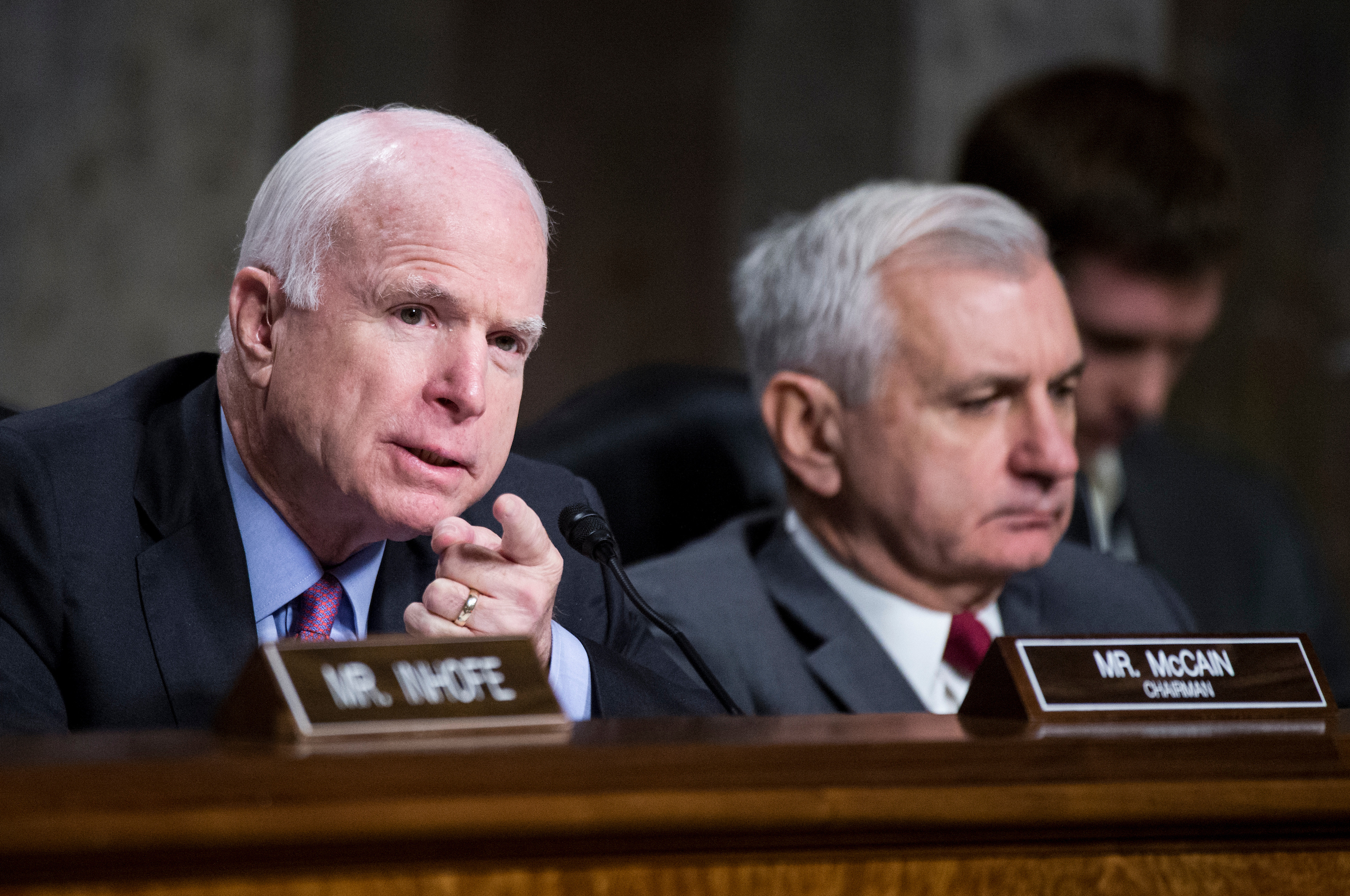 "Chairman Sen. John McCain (R-AZ) left, and ranking member Sen. Jack Reed (D-RI) listen as General John F. Campbell, Resolute Support Mission Commander in Afghanistan, testifies during the Senate Armed Services Committee hearing on ""The Situation in Afghanistan"" on Tuesday, Oct. 6, 2015. (Photo By Bill Clark/CQ Roll Call)"