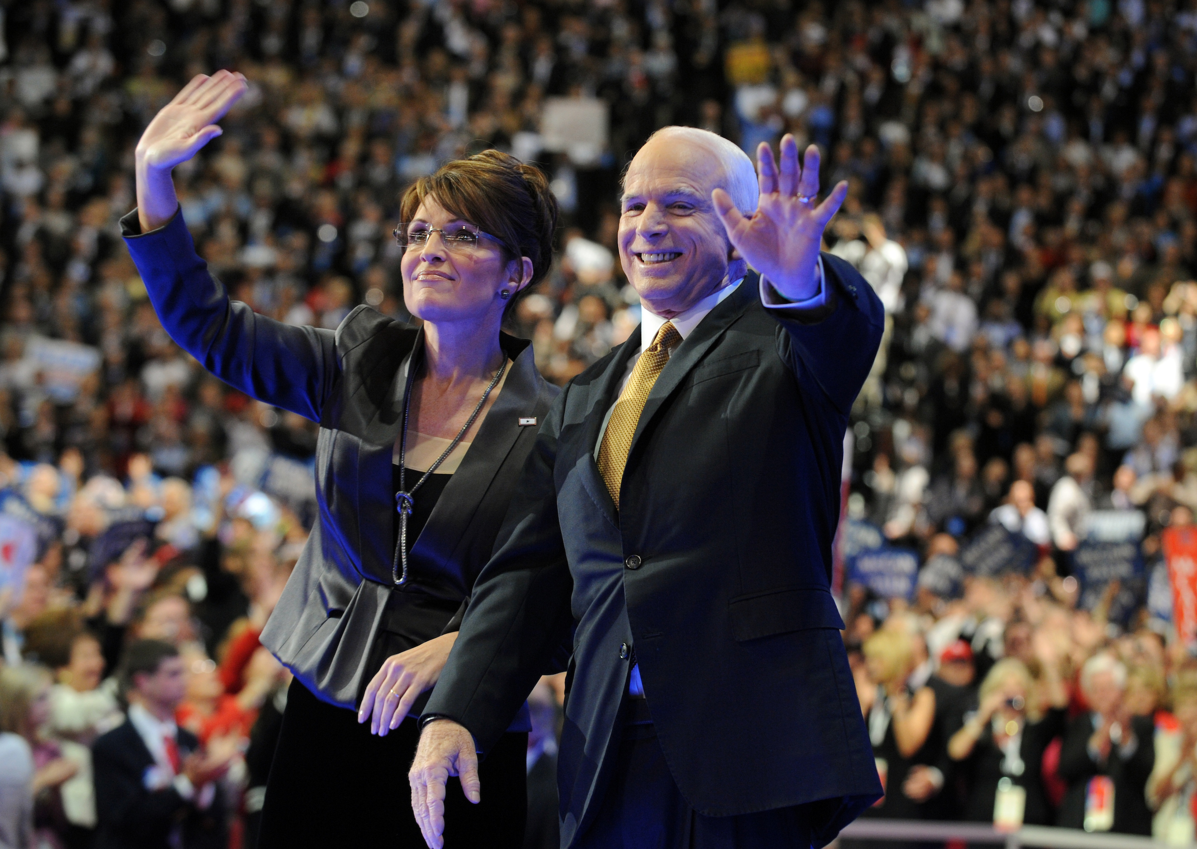 Sen. John McCain greets the crowd with his running mate Gov. Sarah Palin after he accepted the Republican nomination for president on the last night of the Republican National Convention held at the Xcel Center in St. Paul, September 4, 2008.