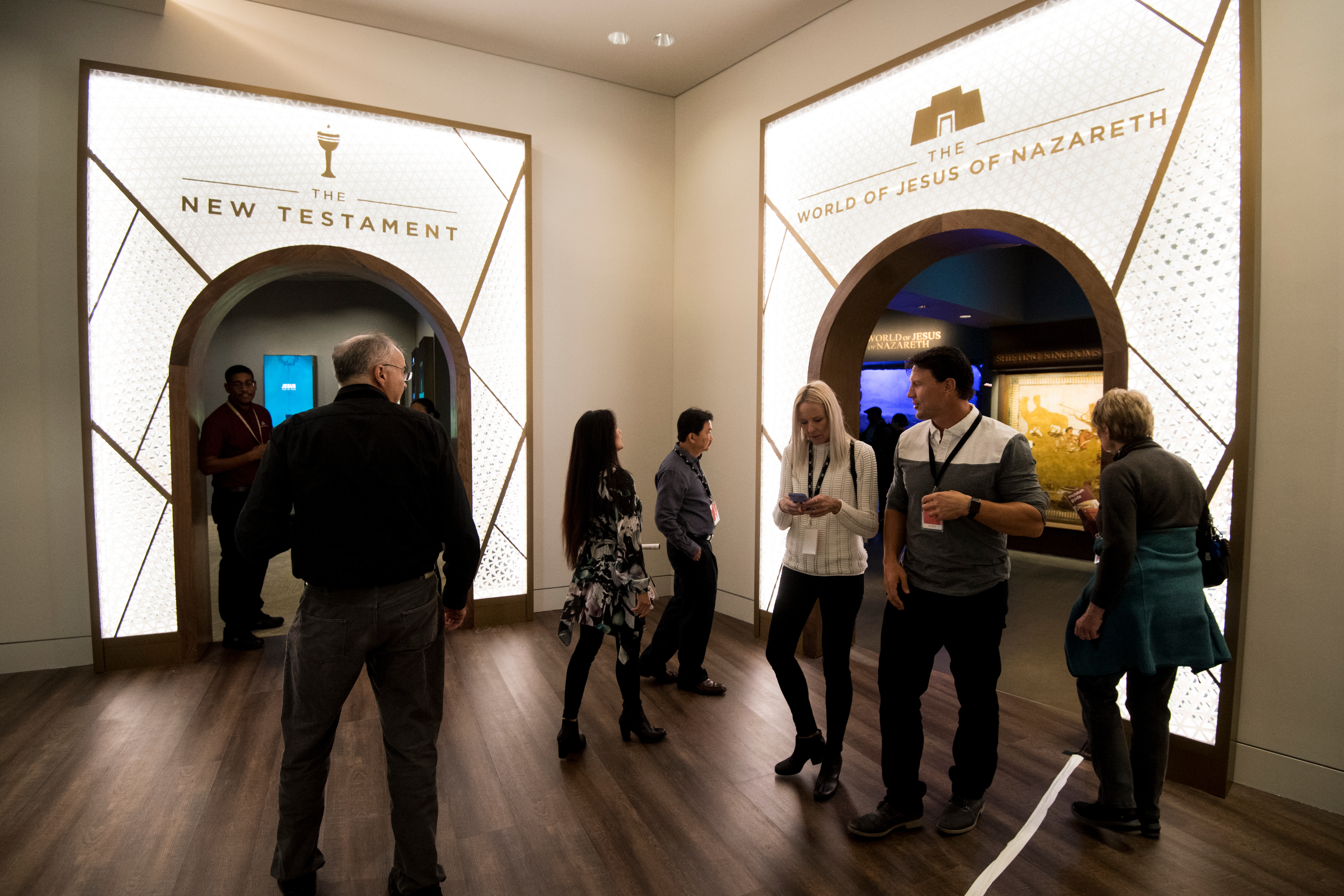 UNITED STATES - NOVEMBER 15: Visitors walk through the third floor exhibits in the Museum of the Bible on Wednesday, Nov. 15, 2017. (Photo By Bill Clark/CQ Roll Call)