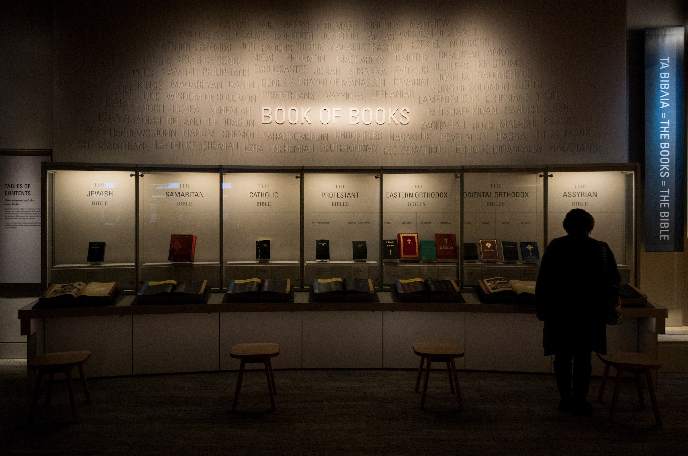UNITED STATES - NOVEMBER 15: A visitor looks at a display of bibles at the Museum of the Bible on Wednesday, Nov. 15, 2017. (Photo By Bill Clark/CQ Roll Call)