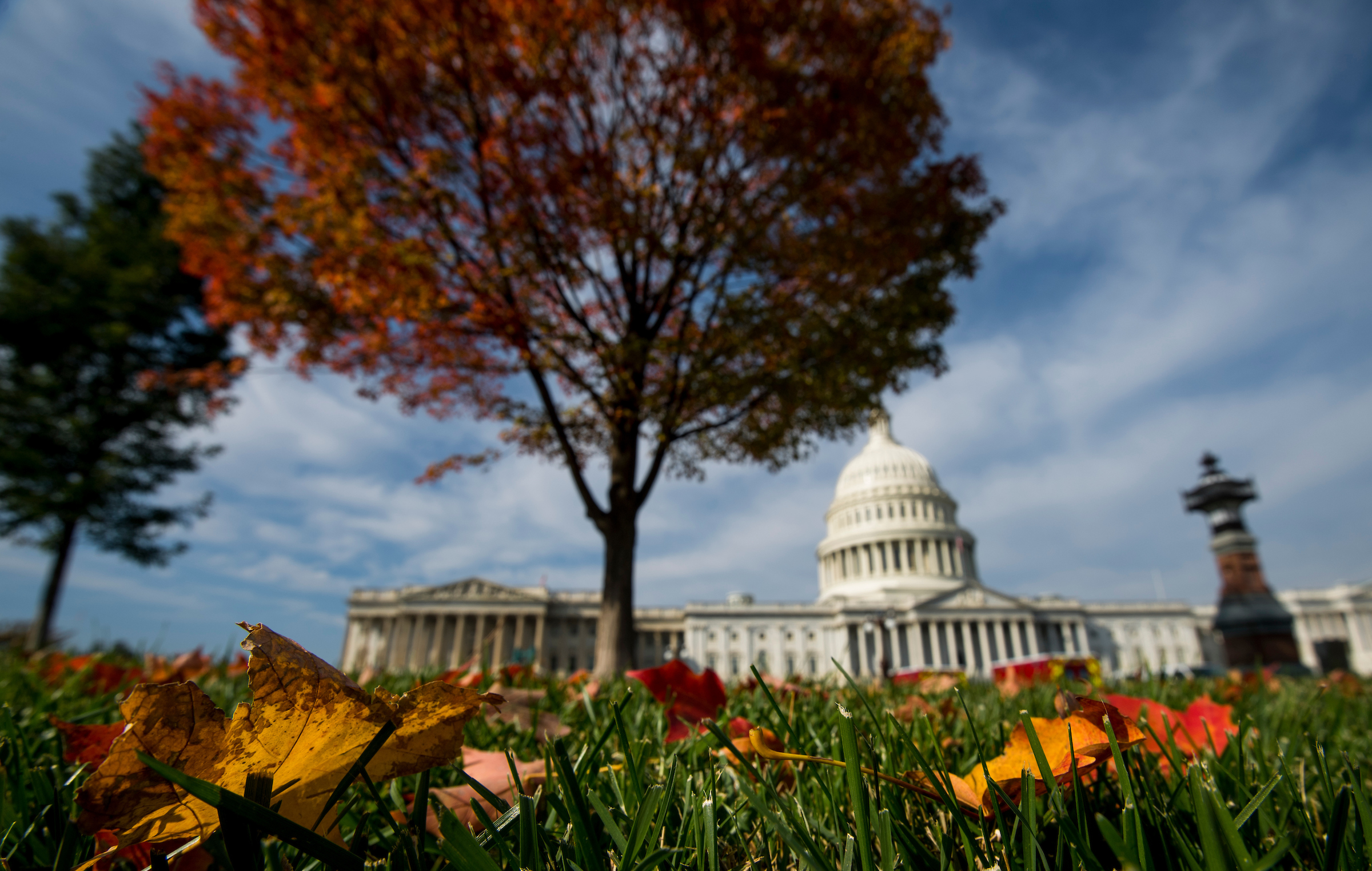 UNITED STATES - NOVEMBER 3: Fall leaves decorate the Capitol on Friday, Nov. 3, 2017. (Photo By Bill Clark/CQ Roll Call)