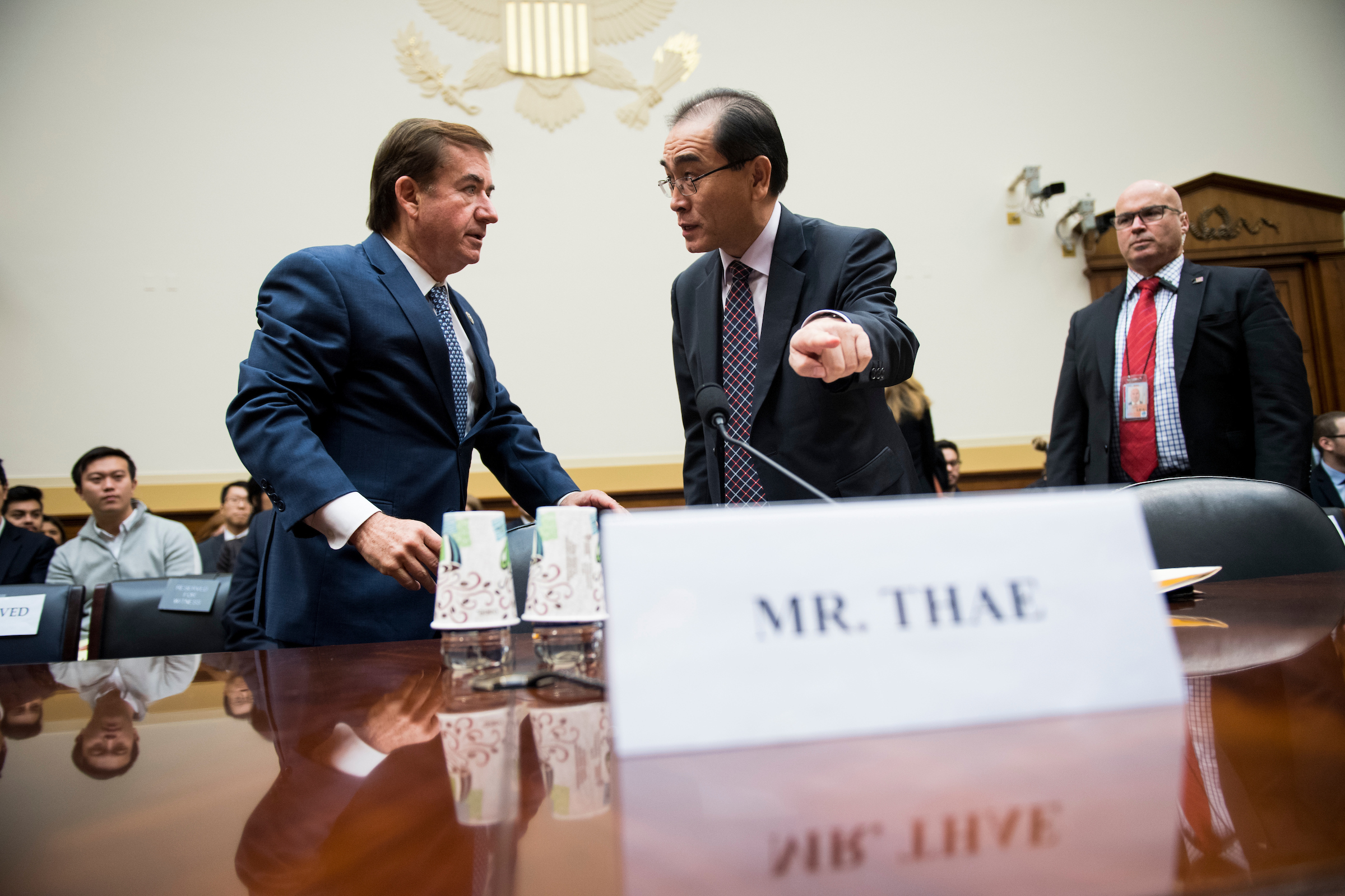 "UNITED STATES - NOVEMBER 1: Chairman Ed Royce, R-Calif., left, welcomes North Korean defector Thae Yong-ho, former North Korean Deputy Chief of Mission in the United Kingdom, to the House Foreign Affairs Committee hearing on ""An Insider's Look at the North Korean Regime"" on Wednesday, Nov. 1, 2017. (Photo By Bill Clark/CQ Roll Call)"