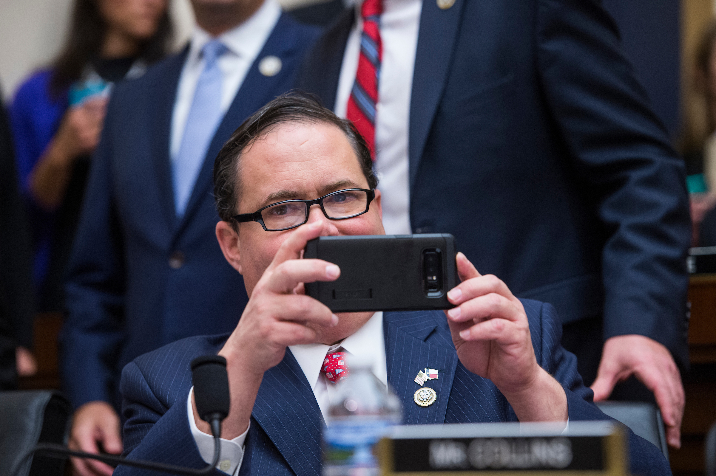 UNITED STATES - NOVEMBER 14: Rep. Blake Farenthold, R-Texas, takes a picture during a House Judiciary Committee hearing in Rayburn Building on November 14, 2017, on oversight of the Department of Justice where Attorney General Jeff Sessions fielded a variety of questions including immigration and Russian meddling in the 2016 election. (Photo By Tom Williams/CQ Roll Call)