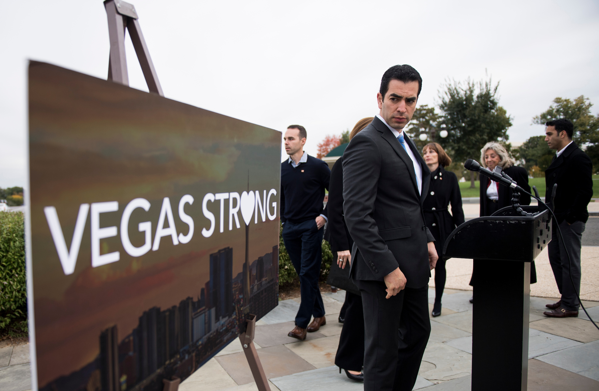 "Rep. Ruben Kihuen, D-Nev., holds a news conference with Las Vegas shooting survivors and Nevada Democrats at the Capitol on Wednesday, Nov. 1, 2017, to call on House Judiciary chairman Bob Goodlatte to hold a hearing and examine the use and legality of ""bump stocks."" (Photo By Bill Clark/CQ Roll Call)"