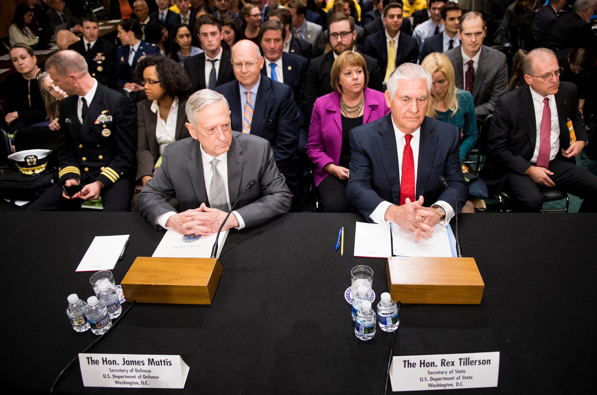 "UNITED STATES - OCTOBER 30: Secretary of Defense James Mattis, left, and Secretary of State Rex Tillerson take their seats to testify during the Senate Foreign Relations Committee hearing on ""The Authorizations for the Use of Military Force: Administration Perspective"" on Monday, October 30, 2017. (Photo By Bill Clark/CQ Roll Call)"