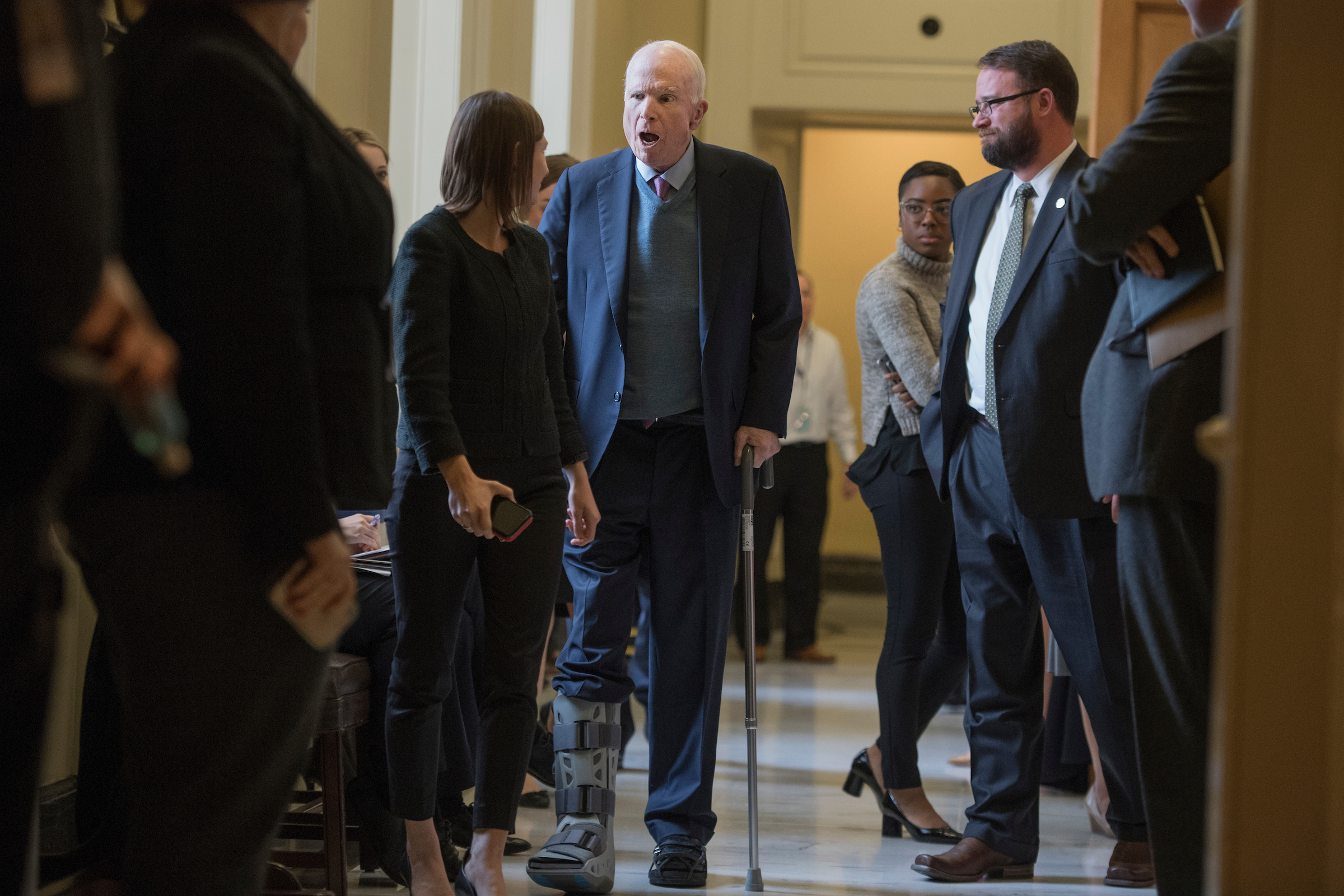 UNITED STATES - NOVEMBER 14: Sen. John McCain, R-Ariz., leaves the Republican Senate Policy luncheon in the Capitol on November 14, 2017.(Photo By Tom Williams/CQ Roll Call)