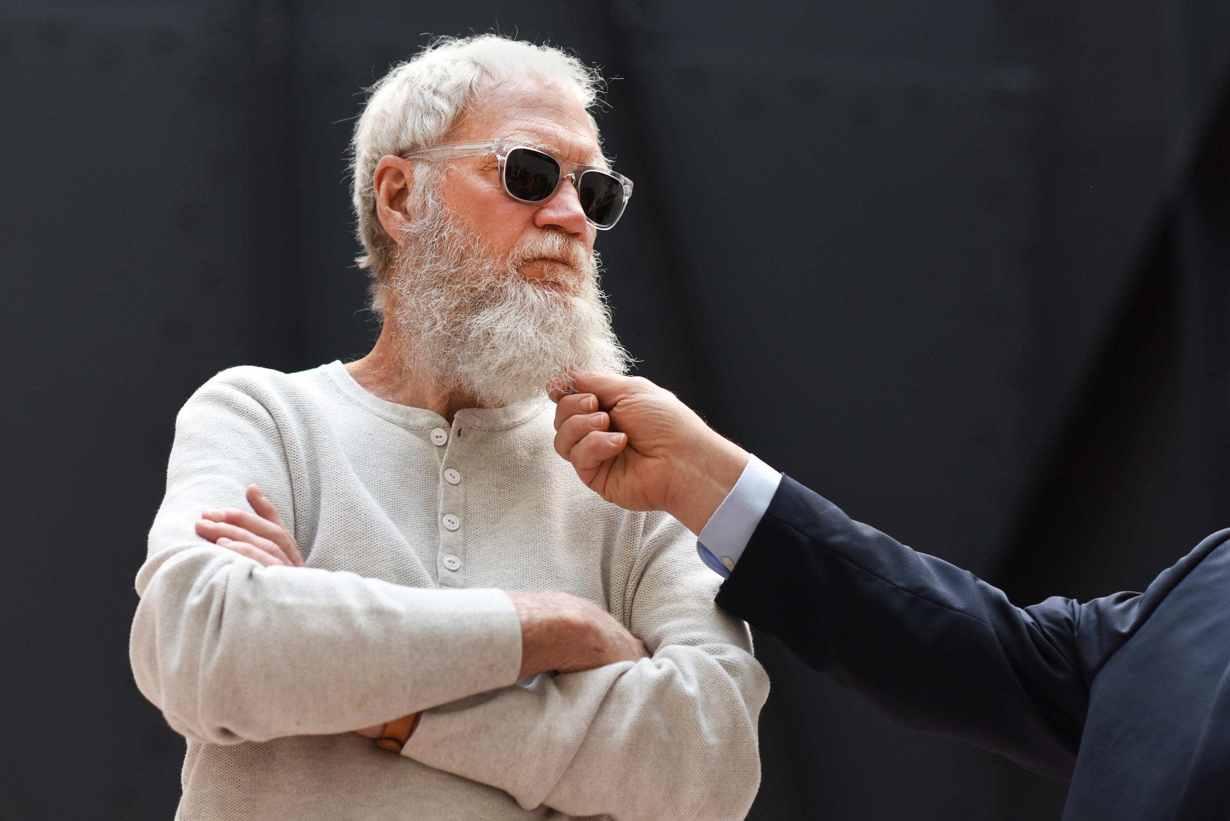 UNITED STATES - APRIL 28: David Letterman and Sen. Al Franken, D-Minn., off camera, meet with climate change activists in the atrium of Hart Building on April 28, 2017, ahead of tomorrow's Peoples Climate march. (Photo By Tom Williams/CQ Roll Call)