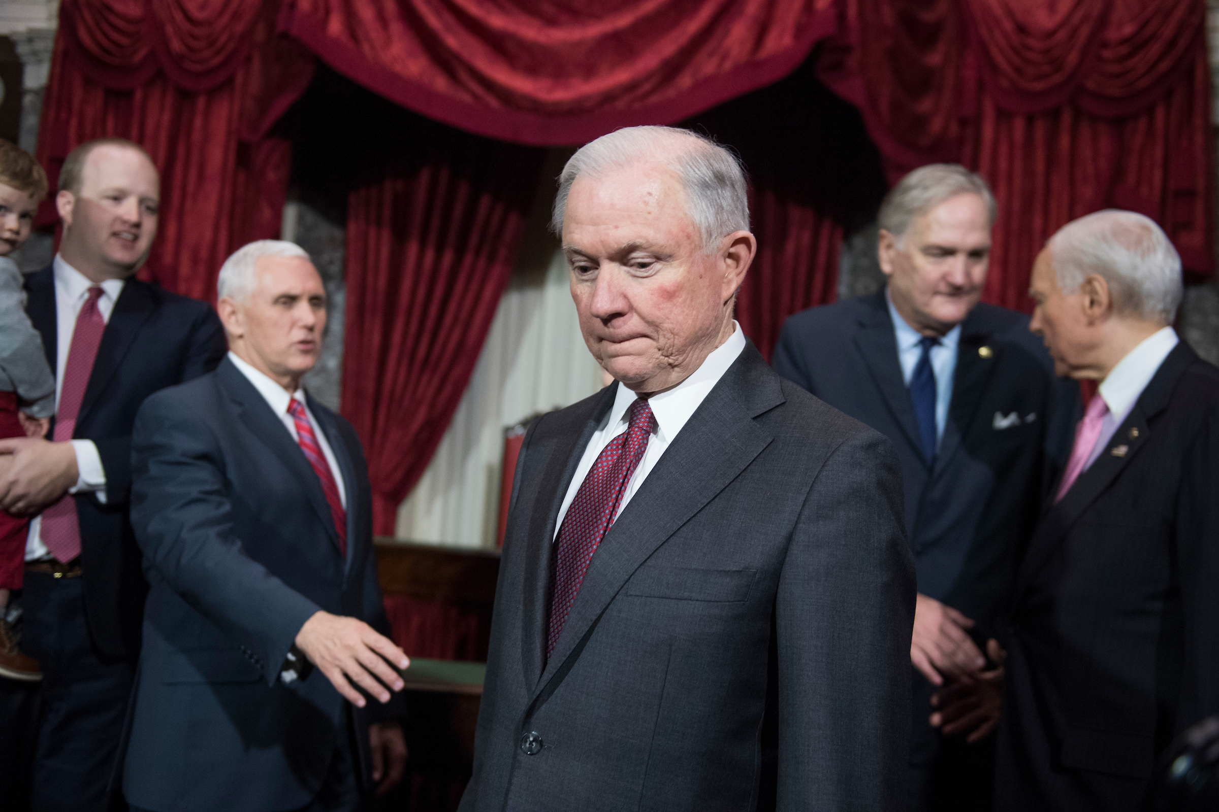 UNITED STATES - FEBRUARY 09: Attorney General Jeff Sessions, center, is pictured with Sen. Luther Strange, R-Ala., second from right, Sen. Orrin Hatch, R-Utah, and Vice President Mike Pence, second from left, during a mock swearing-in ceremony for Strange in the Capitol's Old Senate Chamber, February 9, 2017. Strange filled Sessions' senate seat. (Photo By Tom Williams/CQ Roll Call)