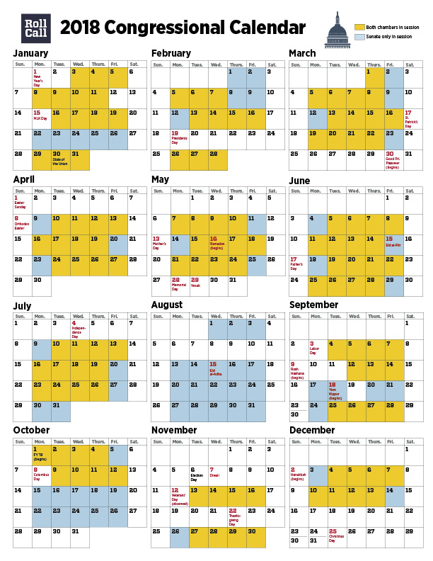 Senate Legislative Calendar December 2019 2018 Congressional Calendar: Senators Plan More Work Days Than House