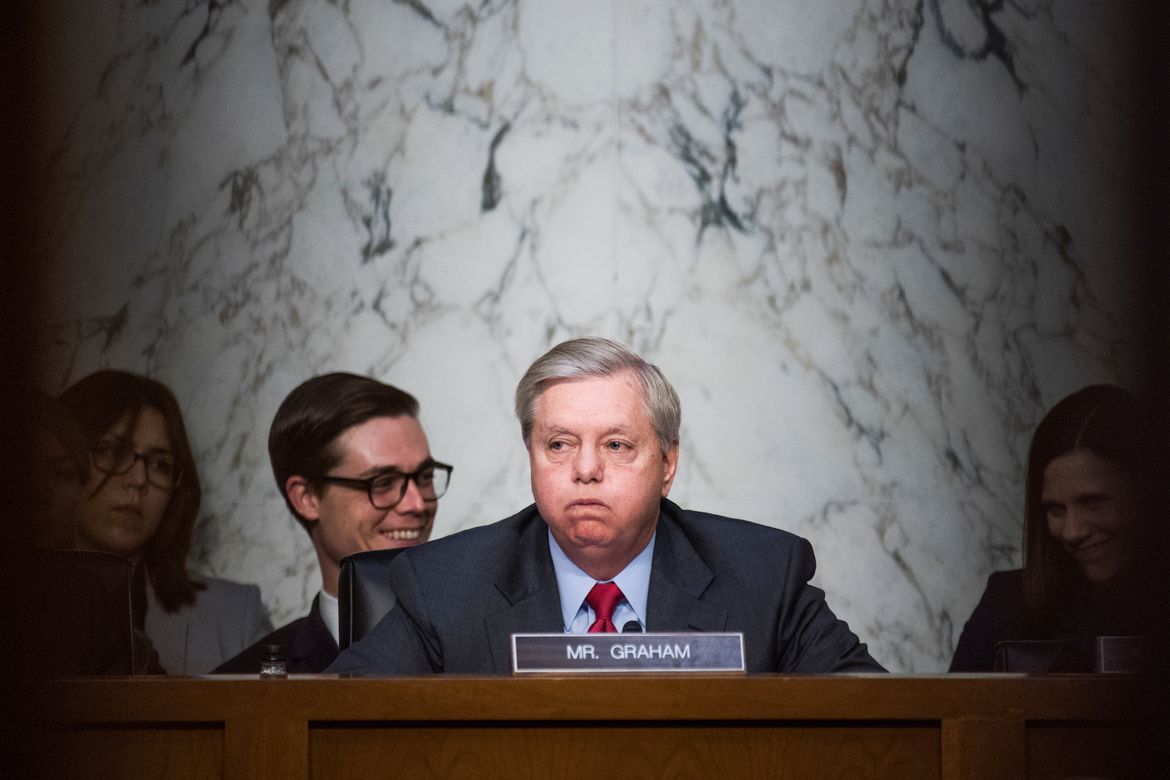 "UNITED STATES - MAY 8: Chairman Lindsey Graham, R-S.C., conducts a Senate Judiciary Crime and Terrorism Subcommittee hearing in Dirksen Building titled ""Russian Interference in the 2016 United States Election,"" featuring testimony by former Acting Attorney General Sally Yates and former Director of National Intelligence James Clapper on May 8, 2017. (Photo By Tom Williams/CQ Roll Call)"