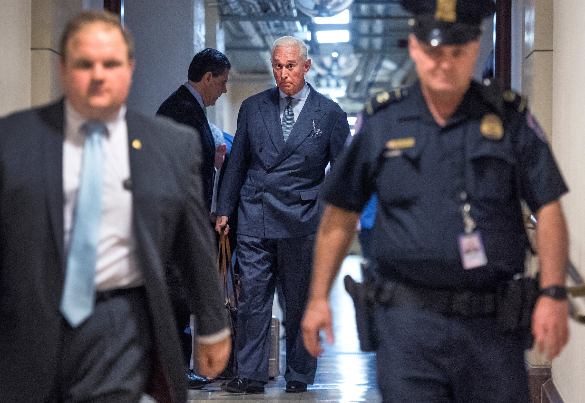 UNITED STATES - SEPTEMBER 26: Roger Stone, advisor to President Trump, arrives in the Capitol to speak with the House Intelligence Committee on possible Russian interference in the 2016 election on September 26, 2017. (Photo By Tom Williams/CQ Roll Call)