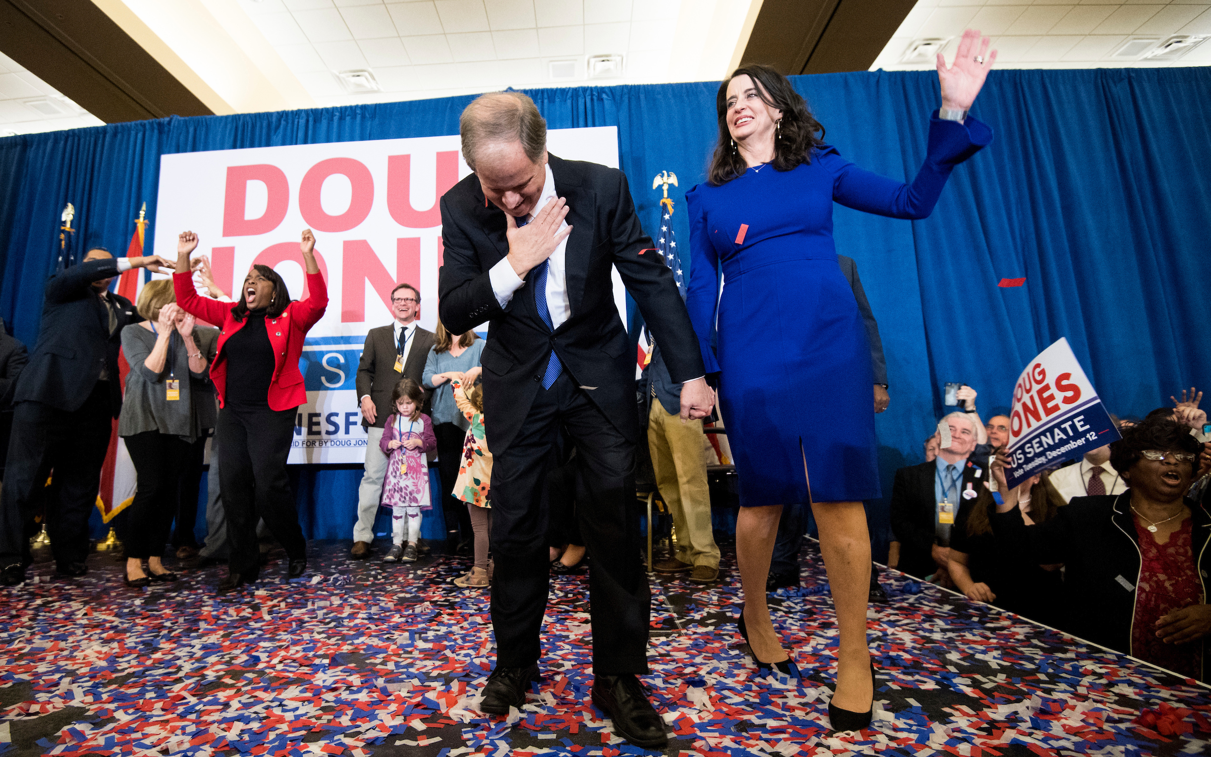 Alabama Democrat Doug Jones and his wife celebrate his victory over Judge Roy Moore at the Sheraton in Birmingham, Ala., on Tuesday, Dec. 12, 2017. Jones is faced off against Judge Roy Moore in a special election for Jeff Sessions' seat in the U.S. Senate. (Bill Clark/CQ Roll Call)