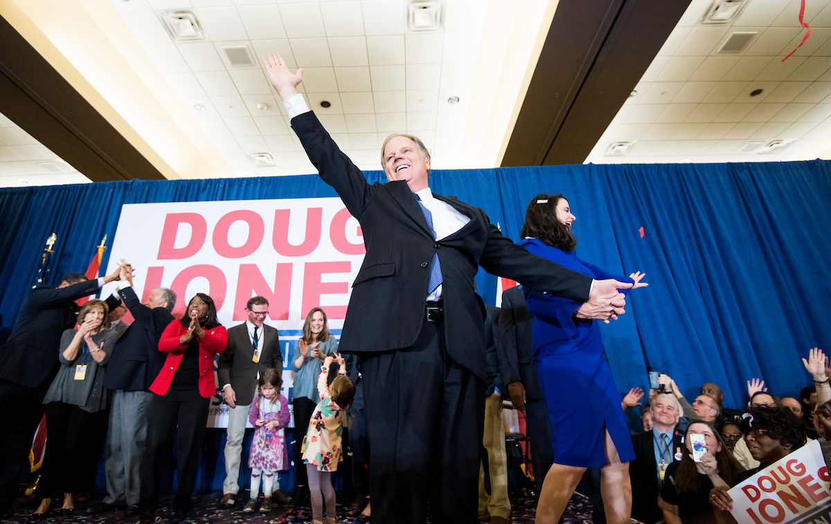 Throwback to Tuesday, when Democrat Doug Jones and his wife celebrated his victory over Roy Moore at the Sheraton in Birmingham, Ala. (Bill Clark/CQ Roll Call)