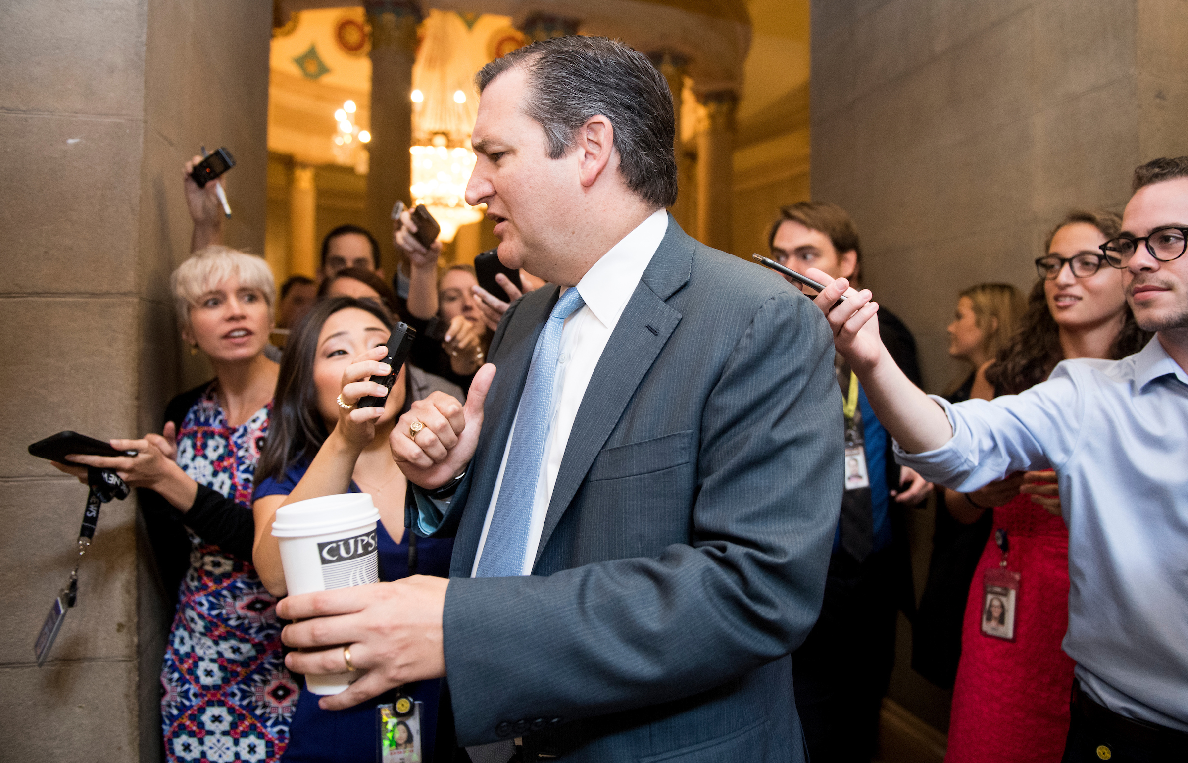 Sen. Ted Cruz, R-Texas, arrives for the meeting for the unveiling of the Senate Republicans' new version of health care plan on Thursday, July 13, 2017. (Photo By Bill Clark/CQ Roll Call)