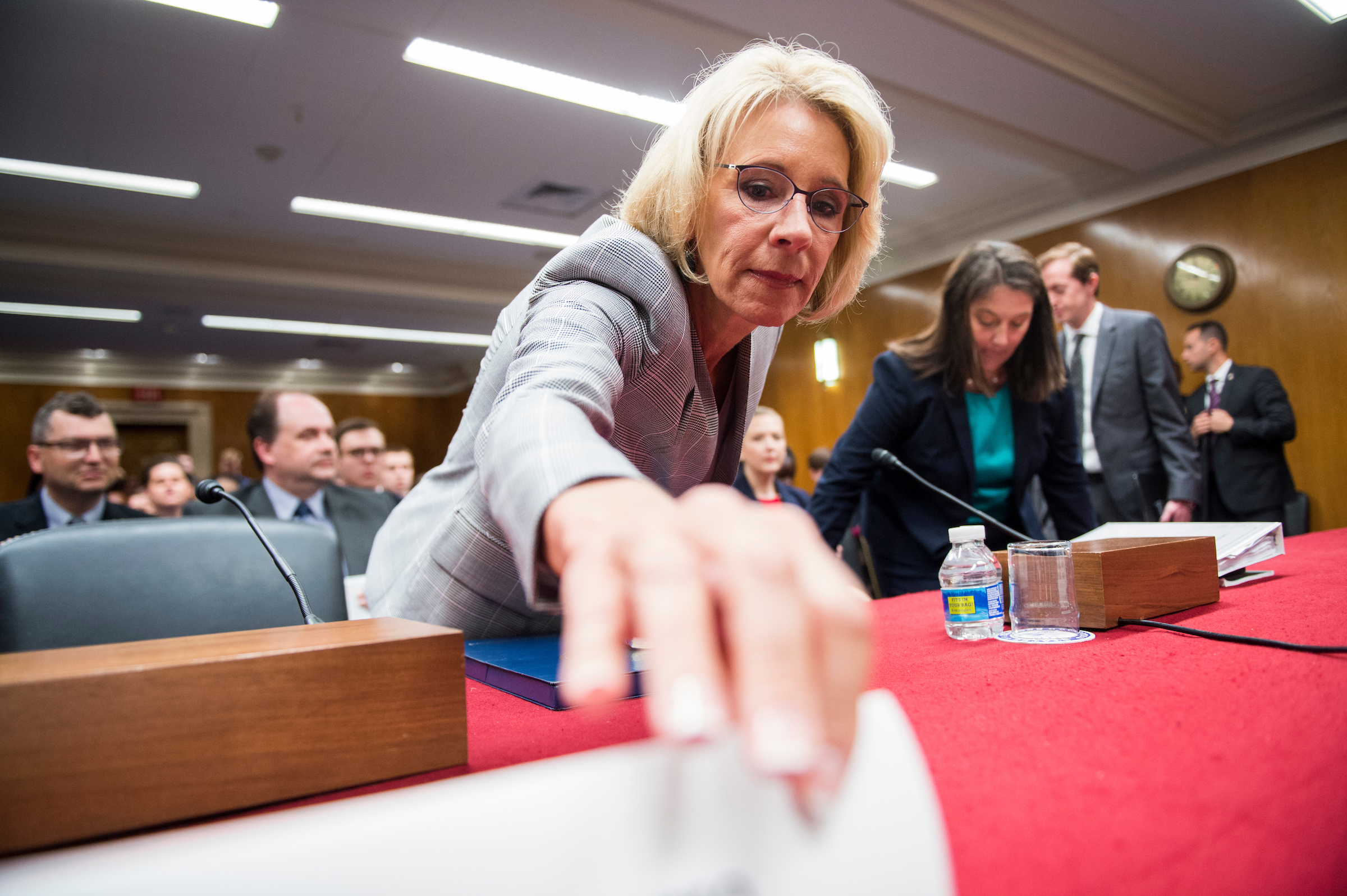 Secretary of Education Betsy DeVos arrives to testify during the Senate Appropriations Committee Labor, Health and Human Services, Education and Related Agencies Subcommittee hearing on the FY2018 budget request for the Education Department on Tuesday, June 6, 2017. (Photo By Bill Clark/CQ Roll Call)