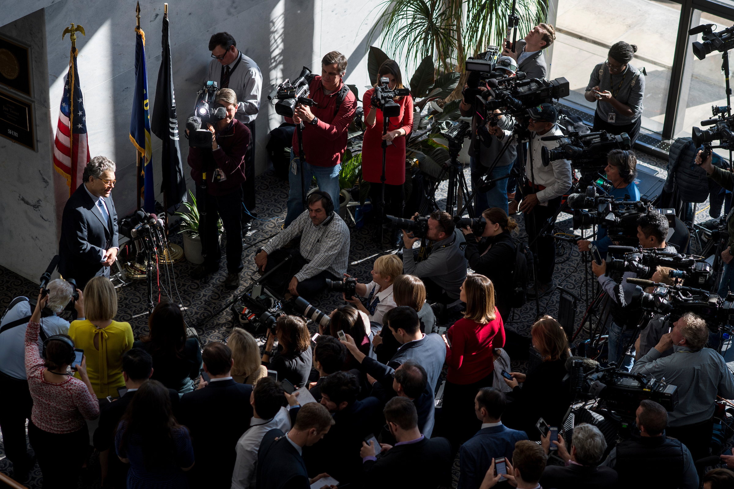 en. Al Franken, D-Minn., speaks to the gathered media outside his office in the Hart Senate Office Building about his alleged sexual misconduct on Monday, Nov. 27, 2017. (Photo By Bill Clark/CQ Roll Call)
