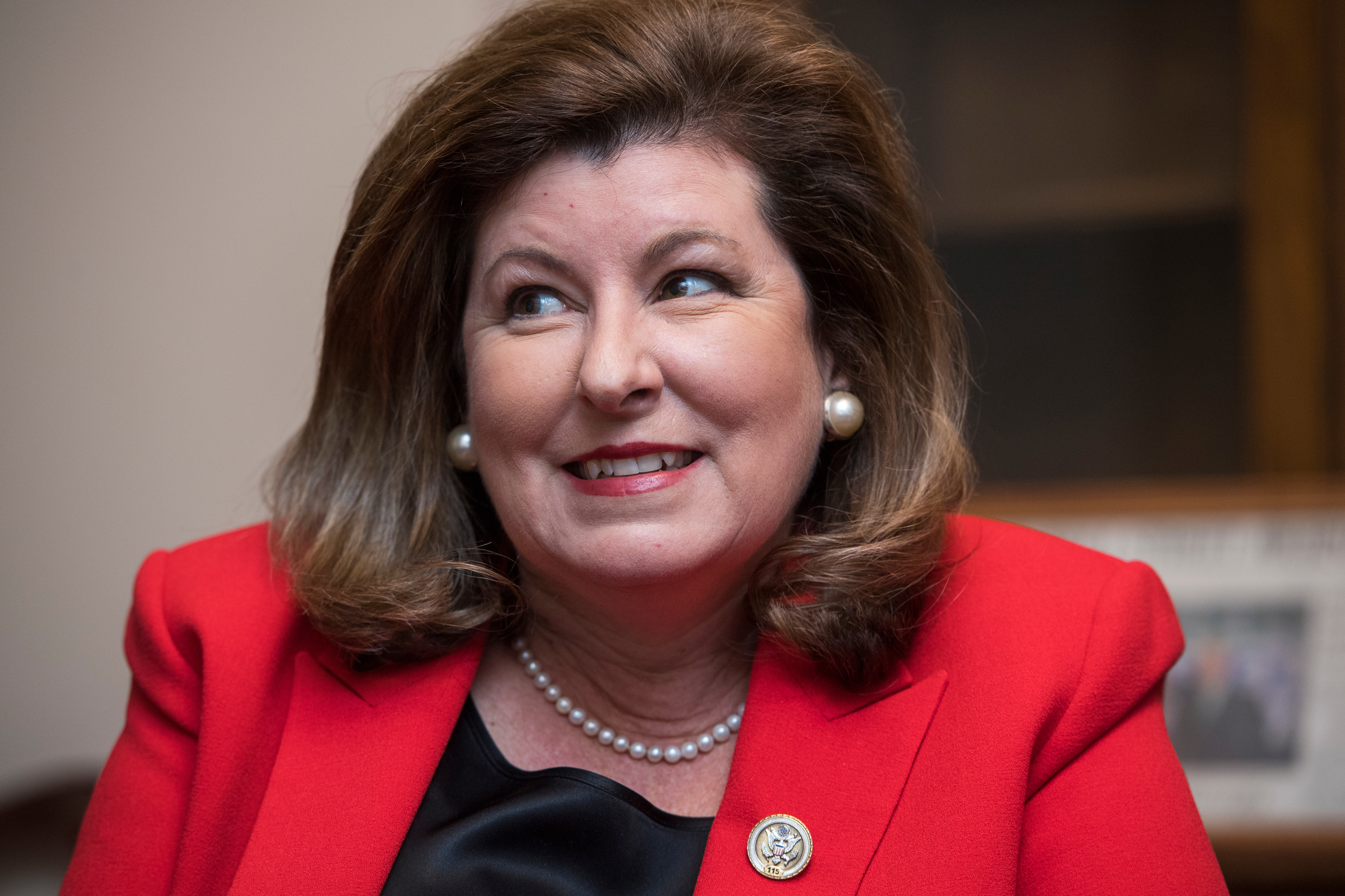 UNITED STATES - DECEMBER 11: Rep. Karen Handel, R-Ga., is interviewed in her Longworth Building office on December 11, 2017. (Photo By Tom Williams/CQ Roll Call)