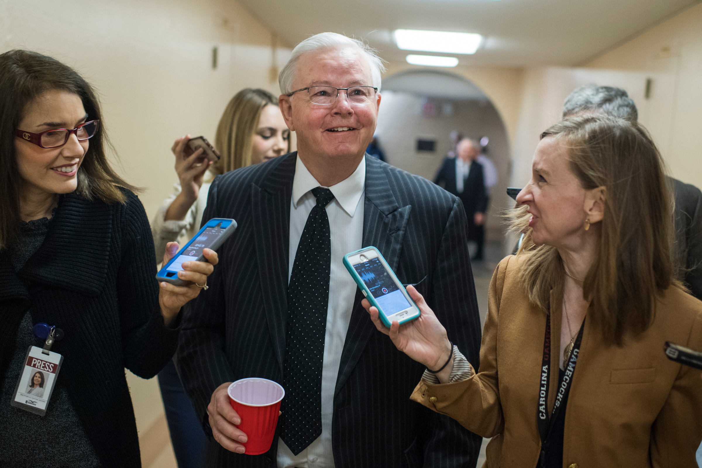 UNITED STATES - NOVEMBER 29: Rep. Joe Barton, R-Texas, talks with reporters after the House Republican Conference meeting in the Capitol on November 29, 2017. (Photo By Tom Williams/CQ Roll Call)